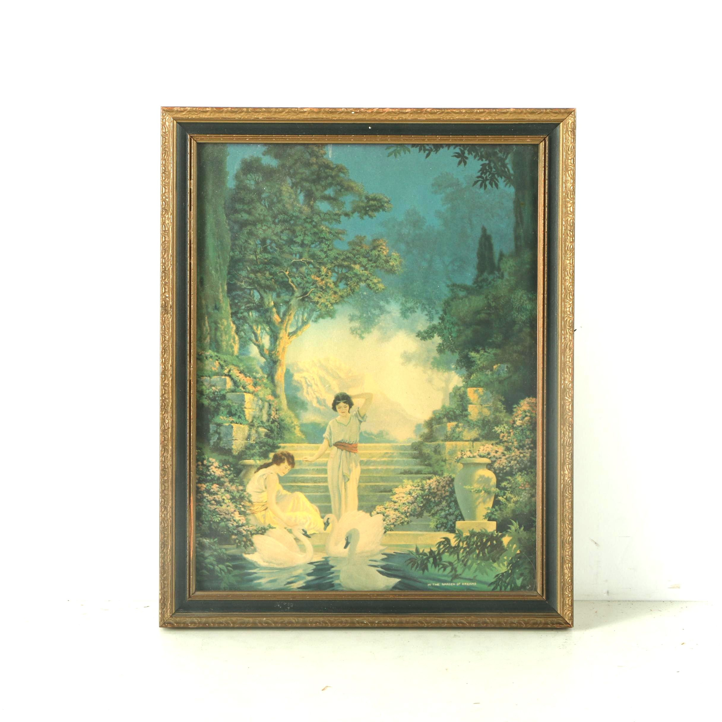 """Offset Lithograph After C.K. Van Nortwick """"In the Garden of Dreams"""""""