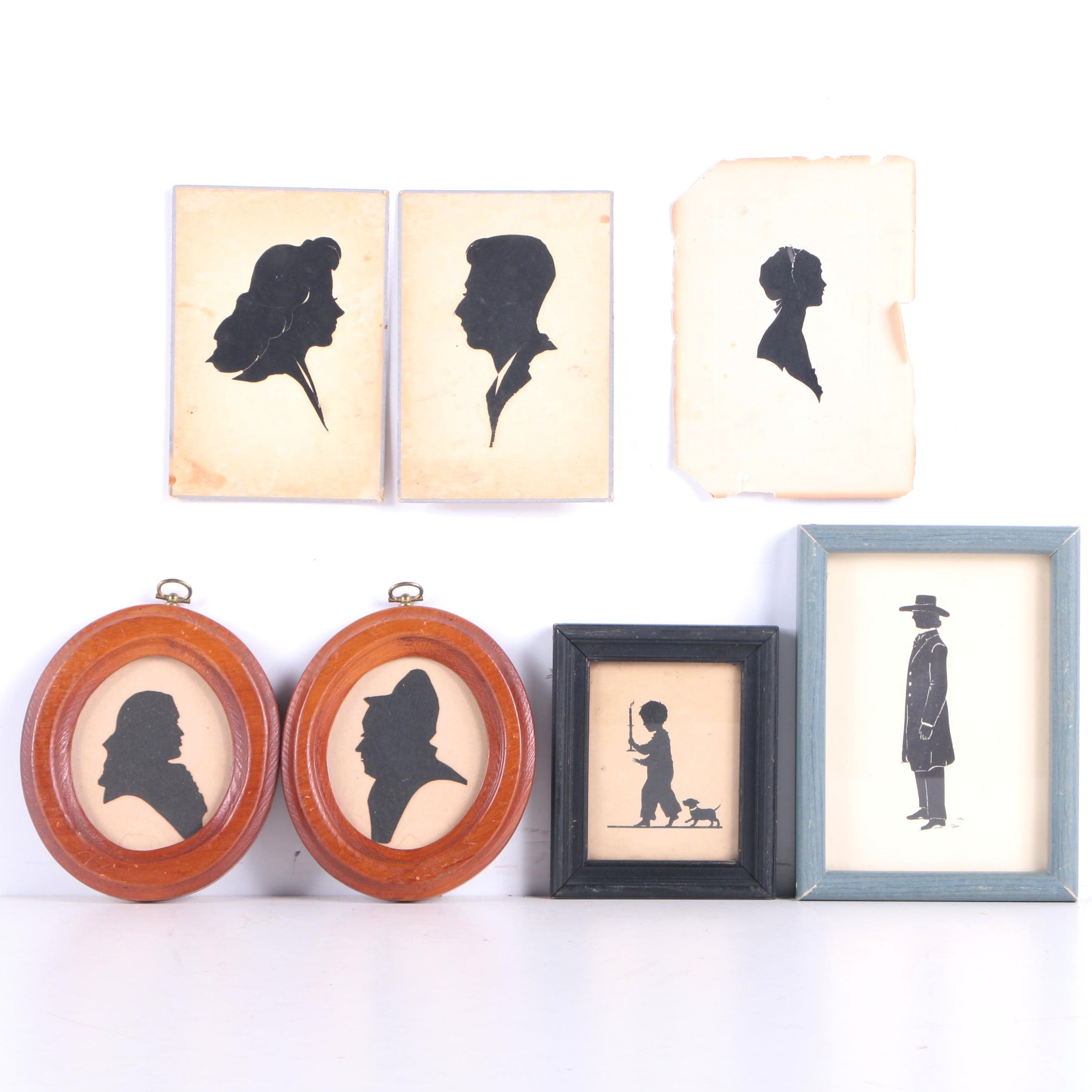 Cut Paper and Serigraph Vintage Style Silhouettes on Paper