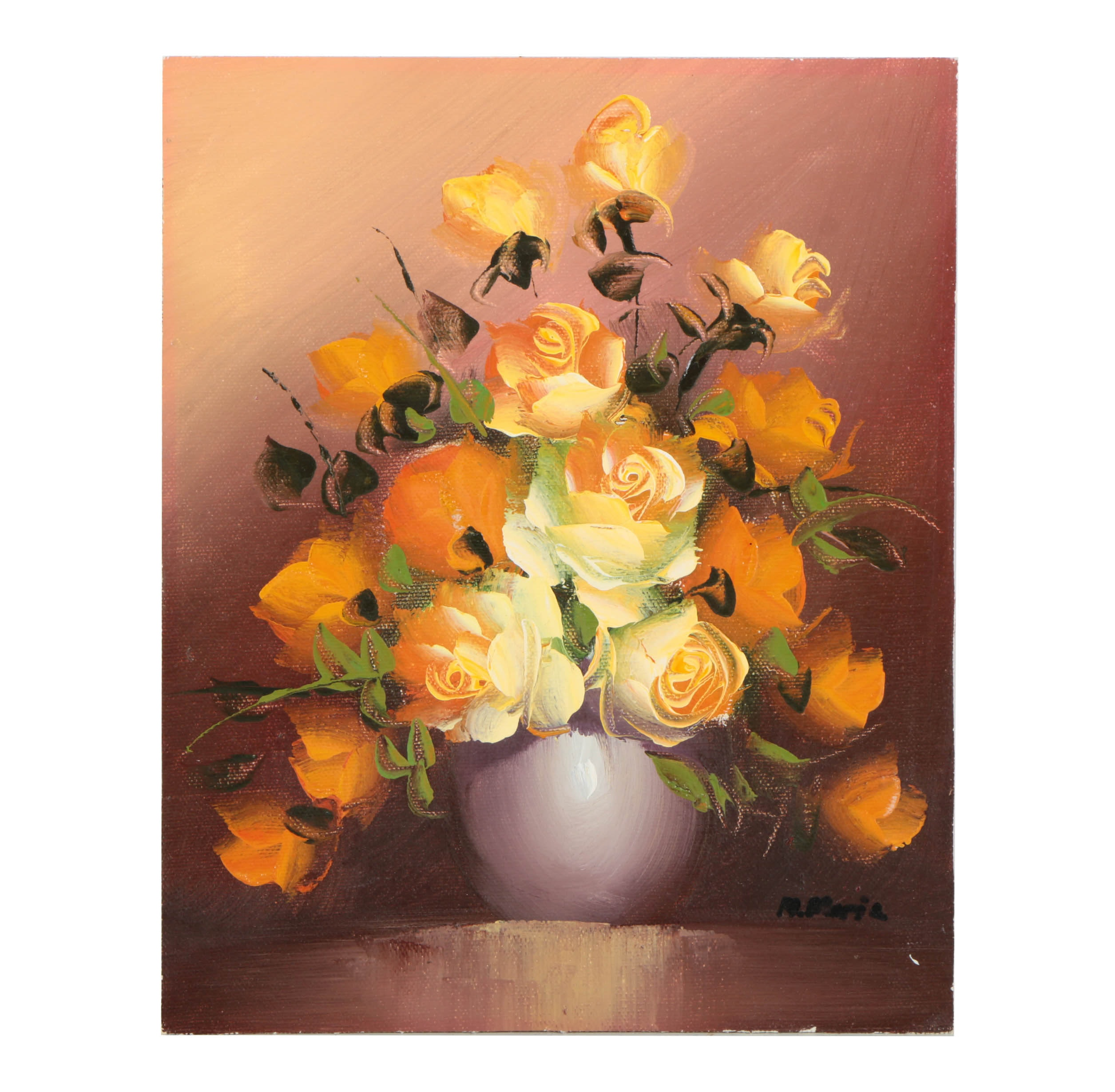 M. Maria Oil Painting on Canvas Floral Still Life
