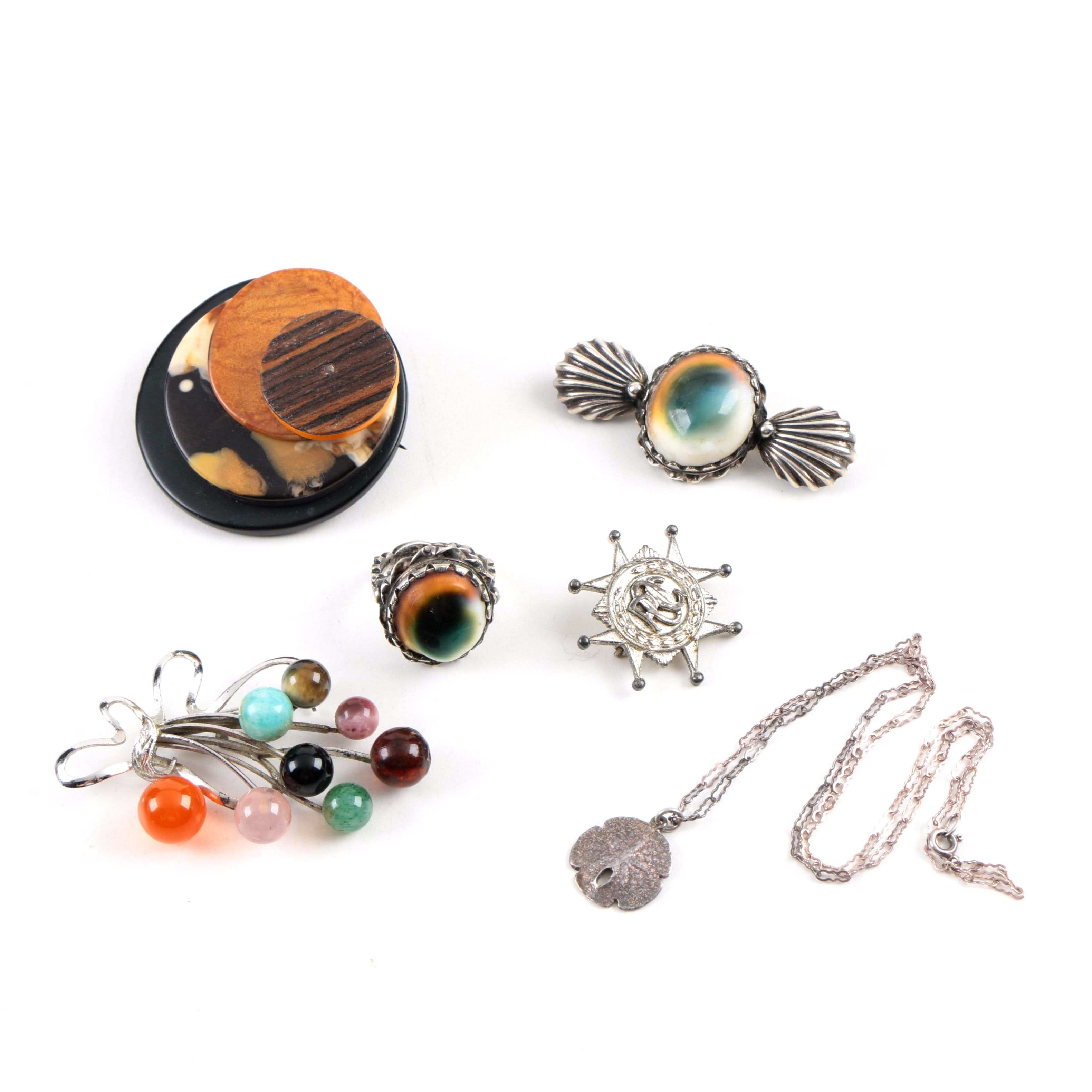 Sterling Silver Jewelry Including a Gemstone Brooch