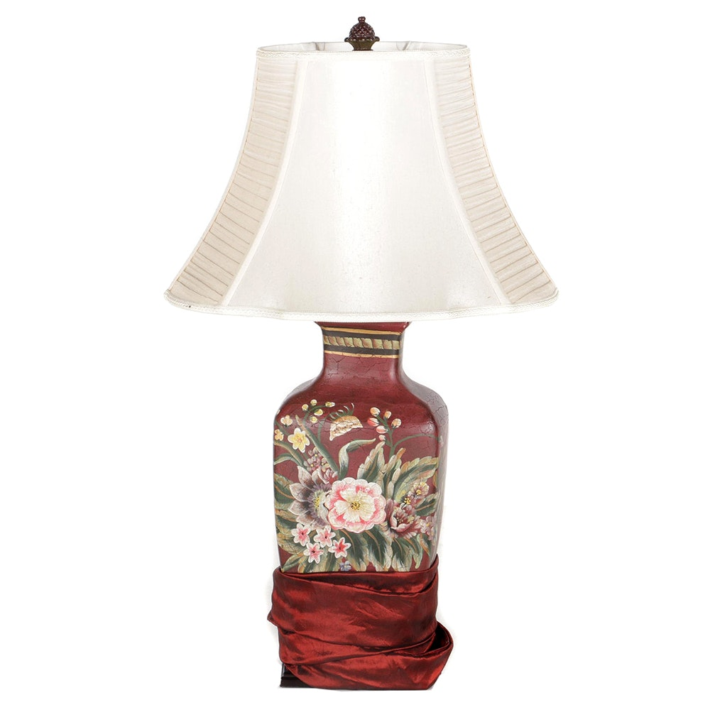 Floral Table Lamp with Cord Cover