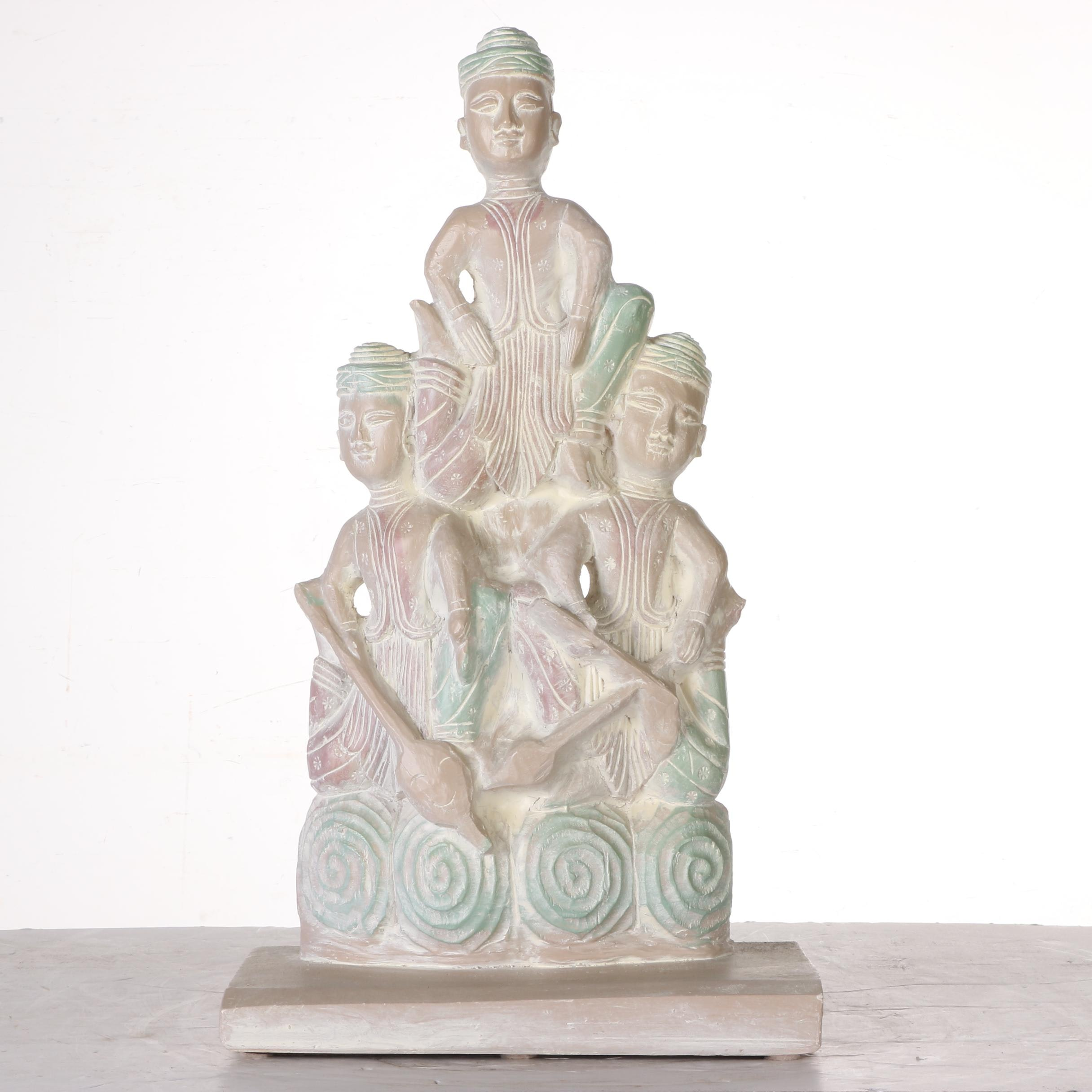 Plaster Sculpture of East Asian Figures