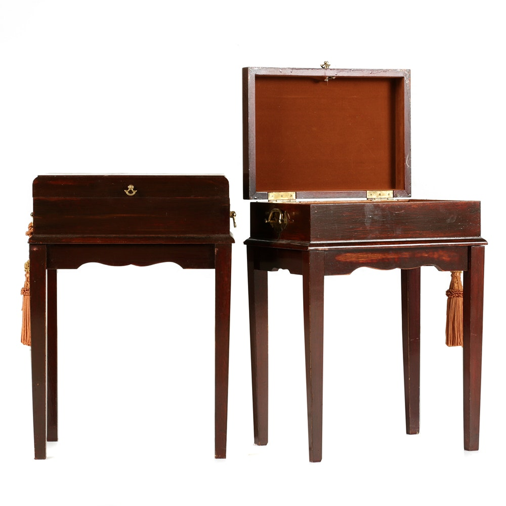 Pair of English Style Mahogany Box on Stands