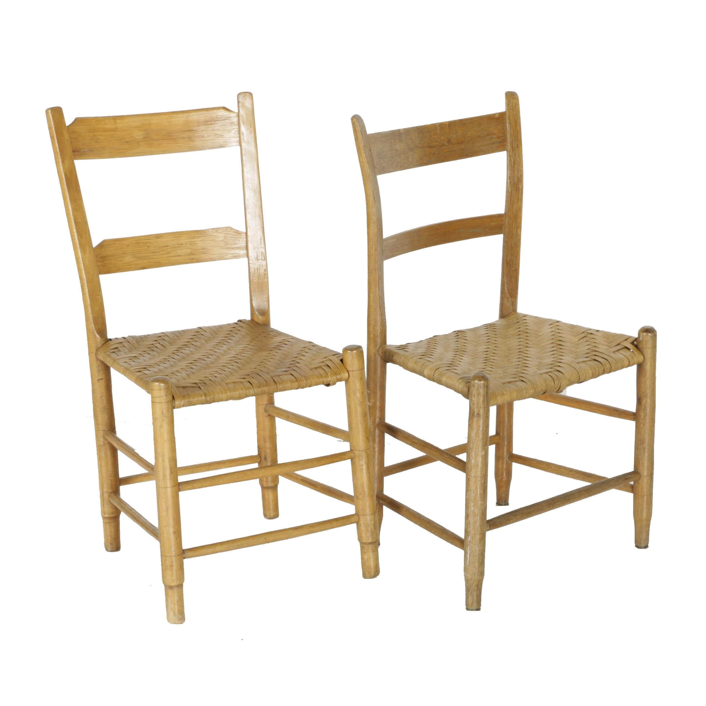 Antique Ladderback Side Chairs With Splint Seats