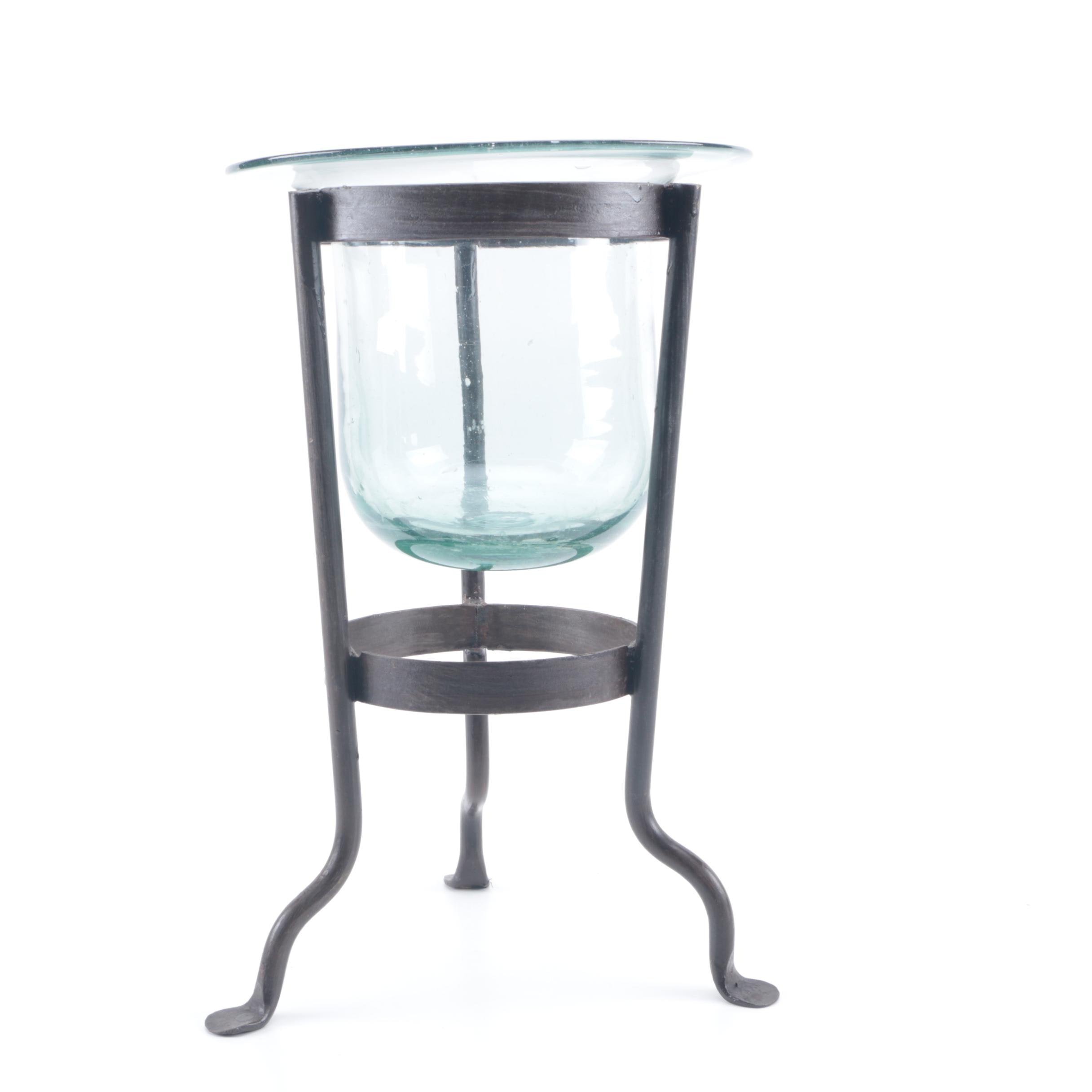Outdoor Metal and Glass Footed Candle Stand