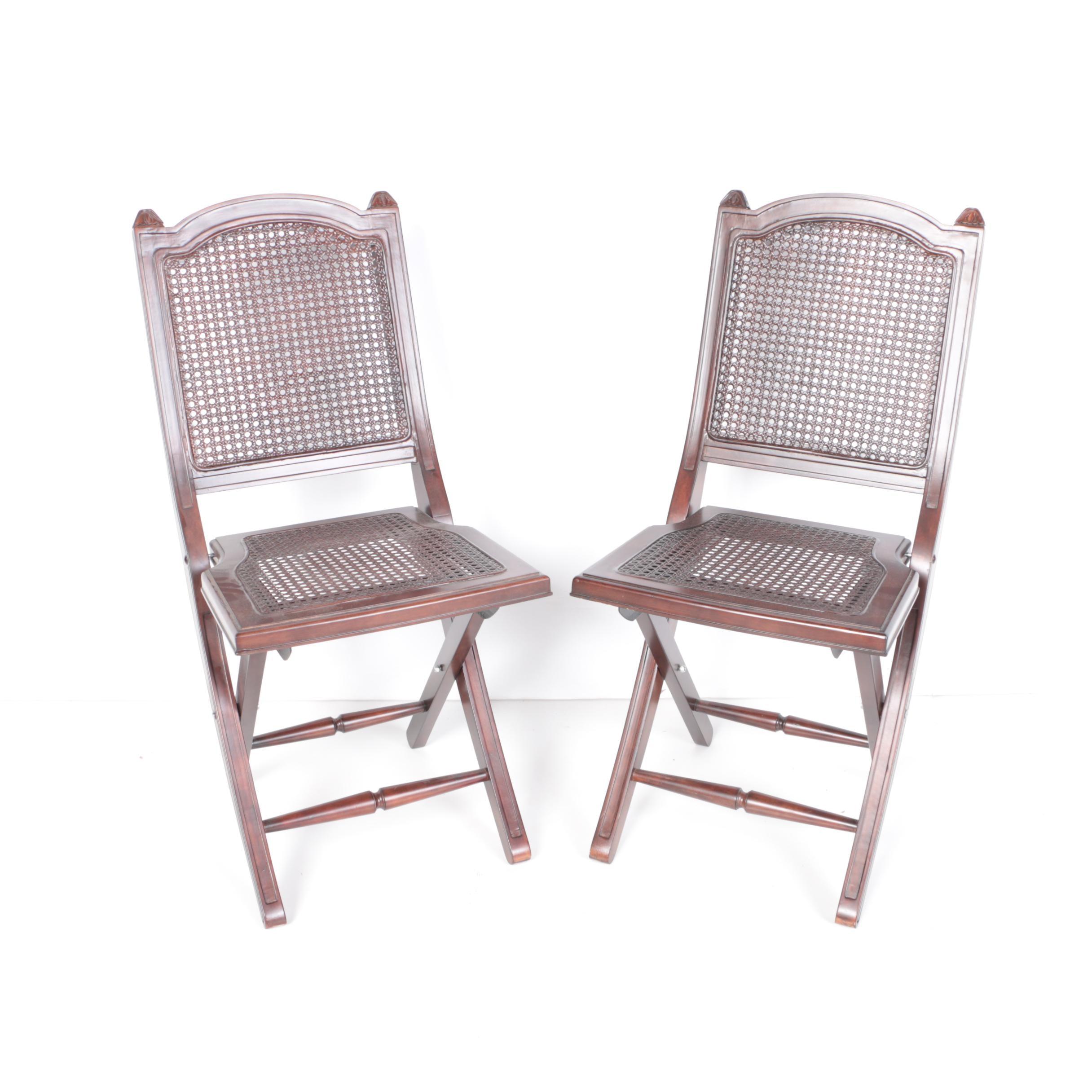 Wicker Back Folding Chairs