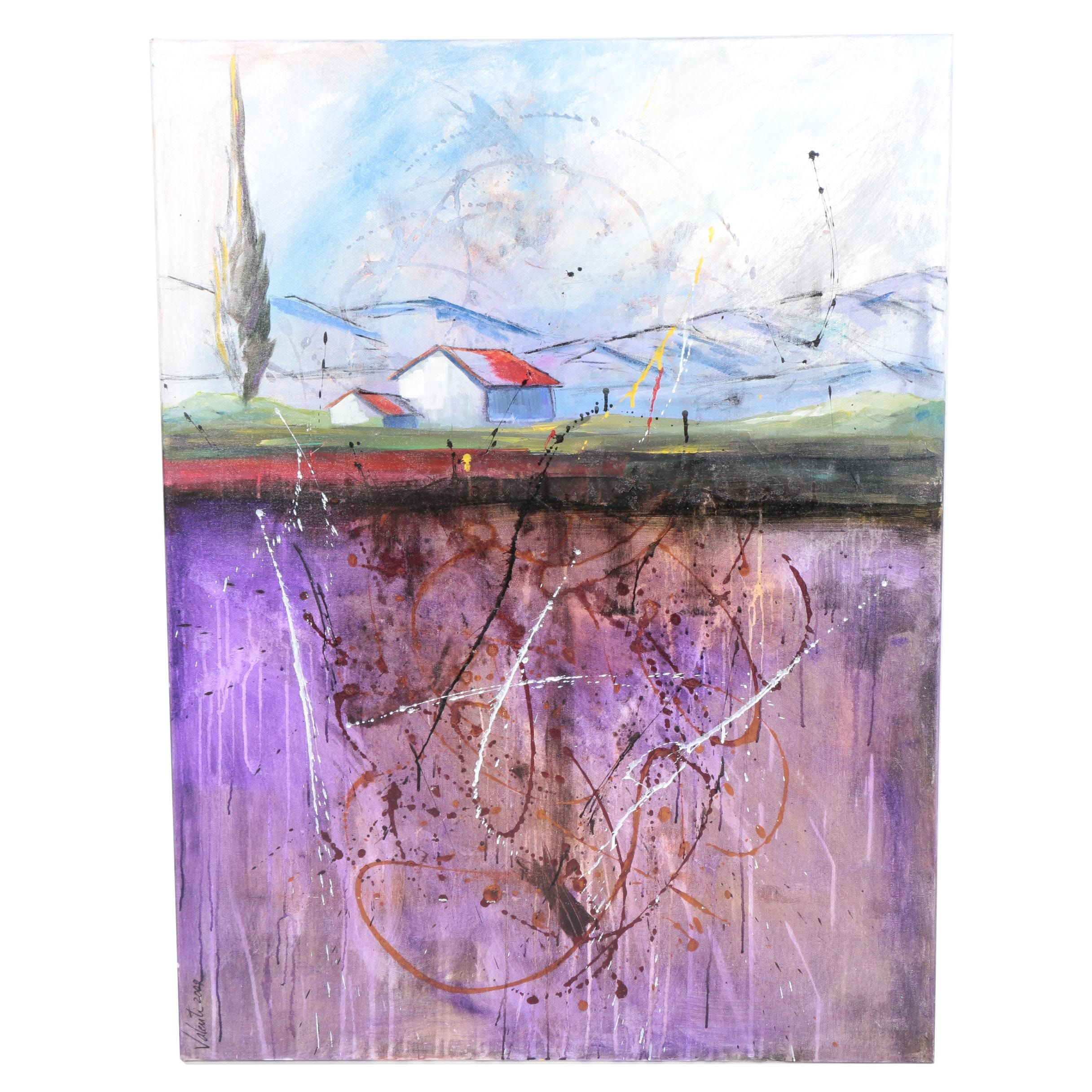 """C. Valenti 2009 Mixed Media Painting on Canvas """"Up in the Mountains"""""""