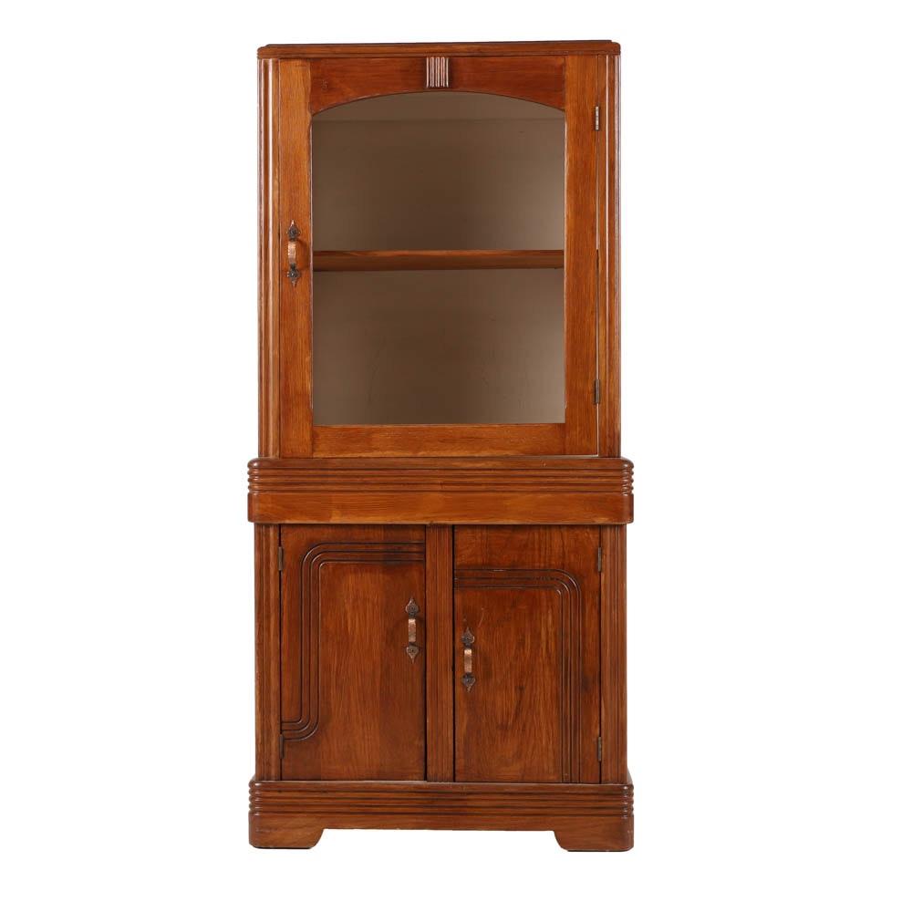 Art Deco Oak China Cabinet