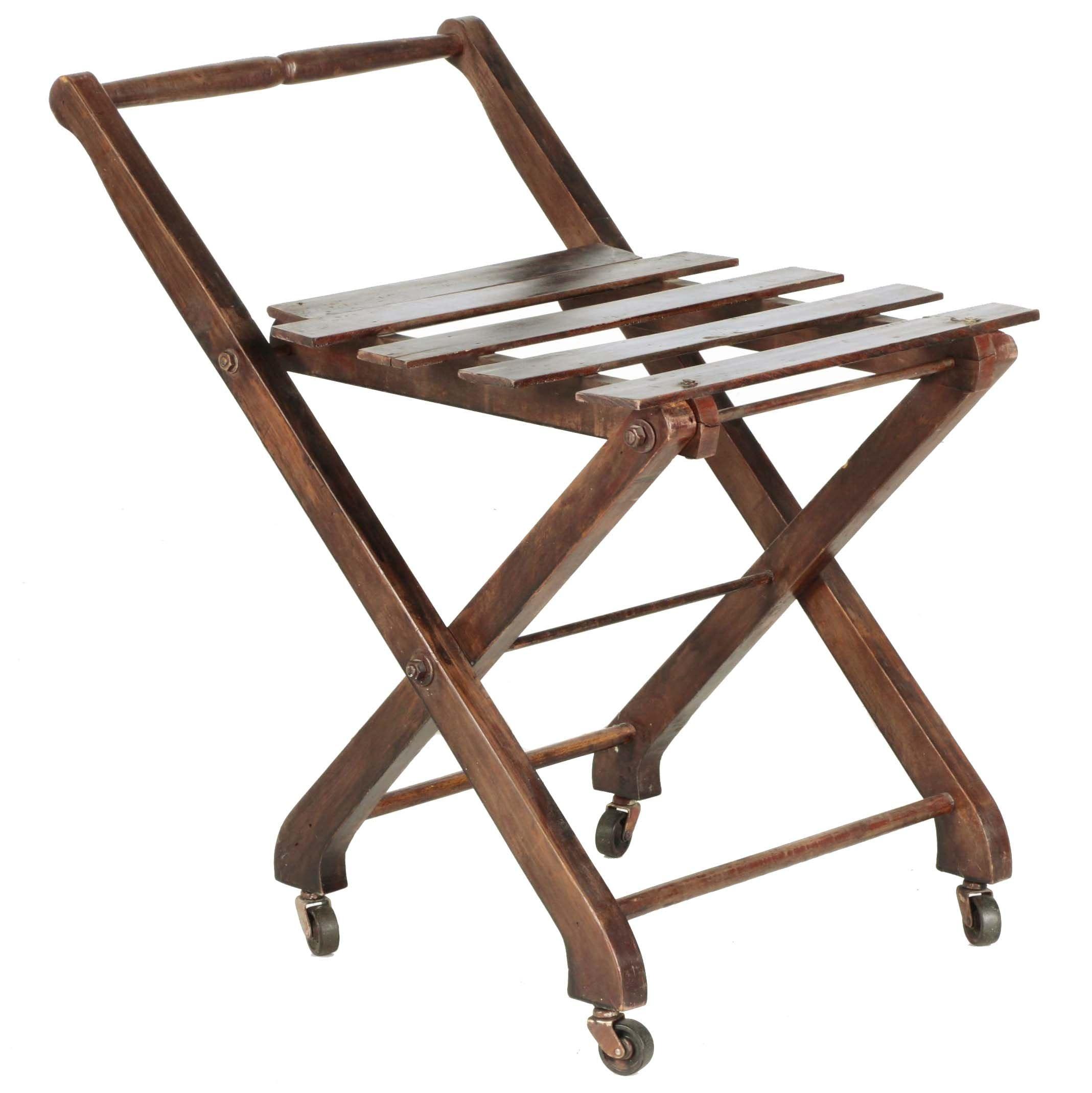 Folding Wooden Serving Cart