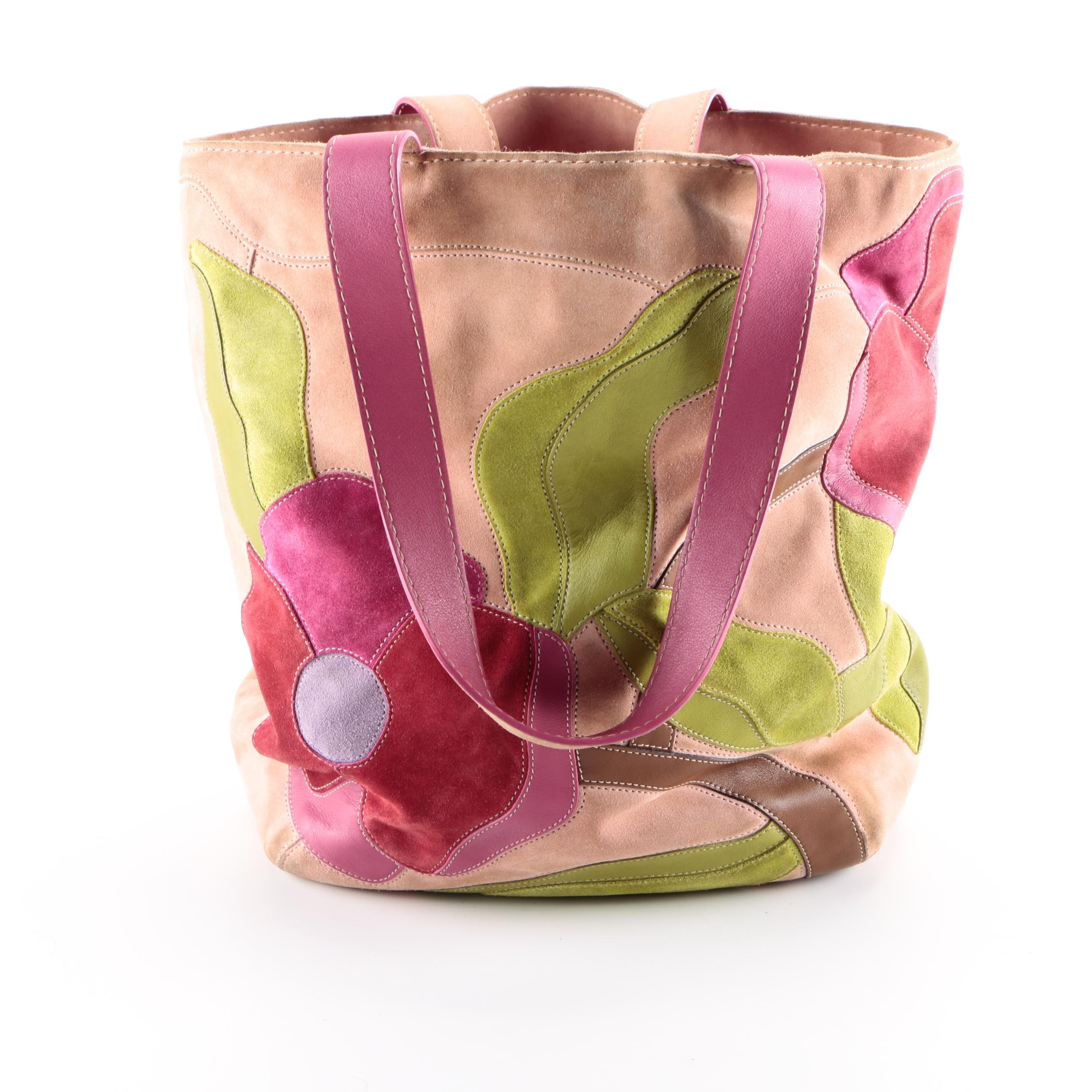 """Coach Suede """"Poppy"""" Patchwork Tote"""
