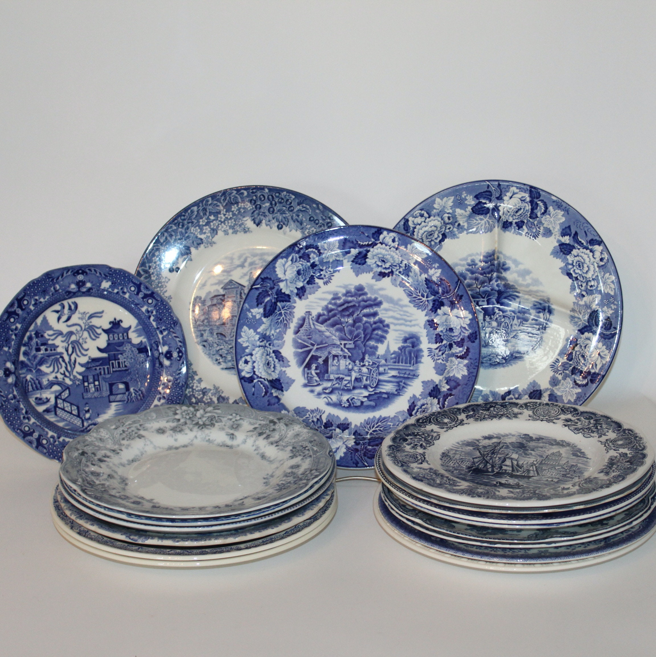 Assorted Transferware Plates in Shades of Blue