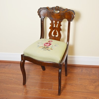 Antique Carved Mahogany Side Chair With Needlepoint Upholstery