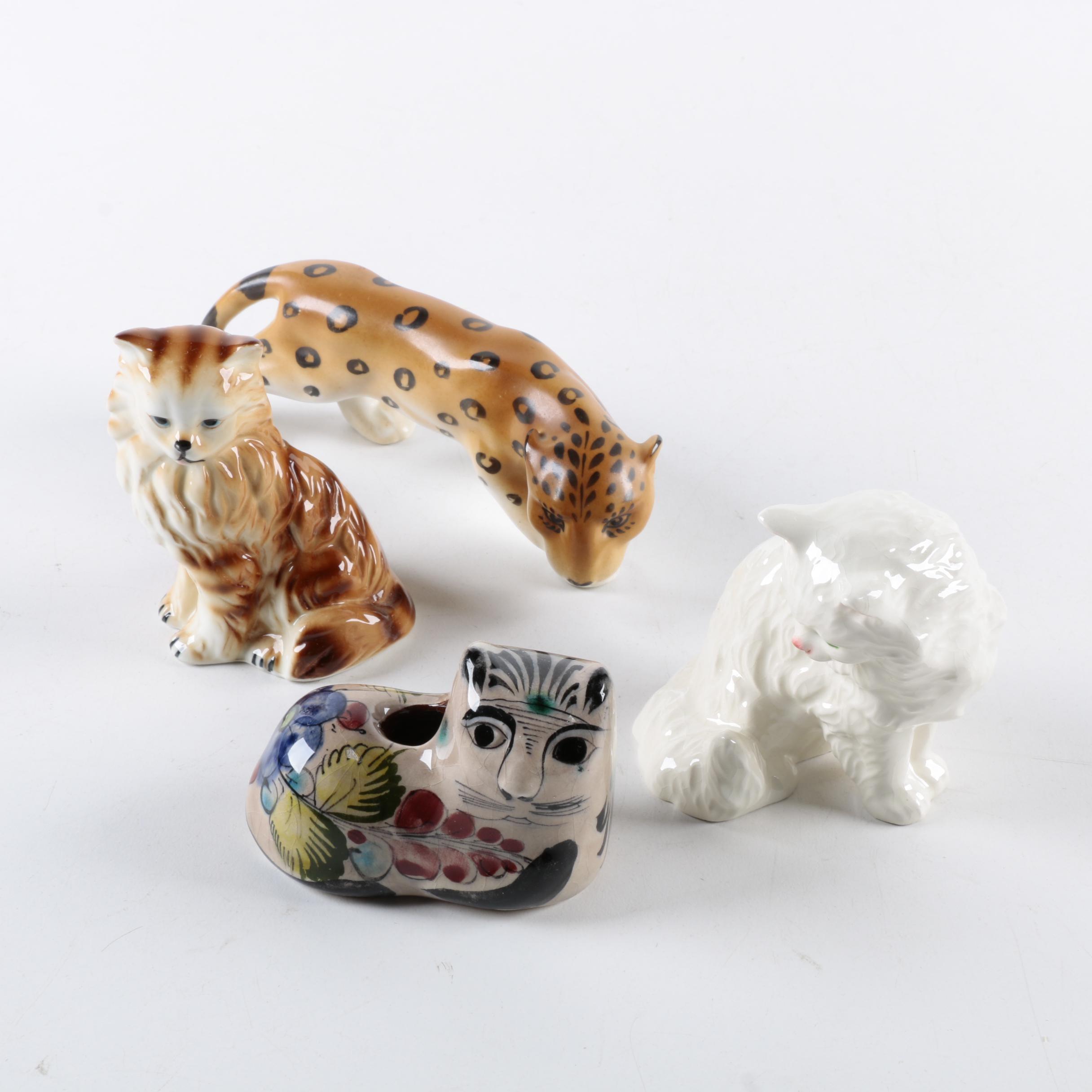 Collection of Ceramic Cat Figurines