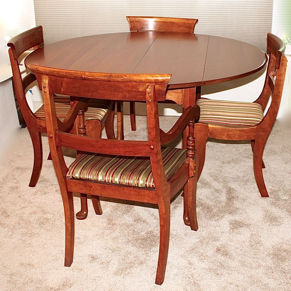 Vintage Dining Set with Leaf Extensions & Six Chairs