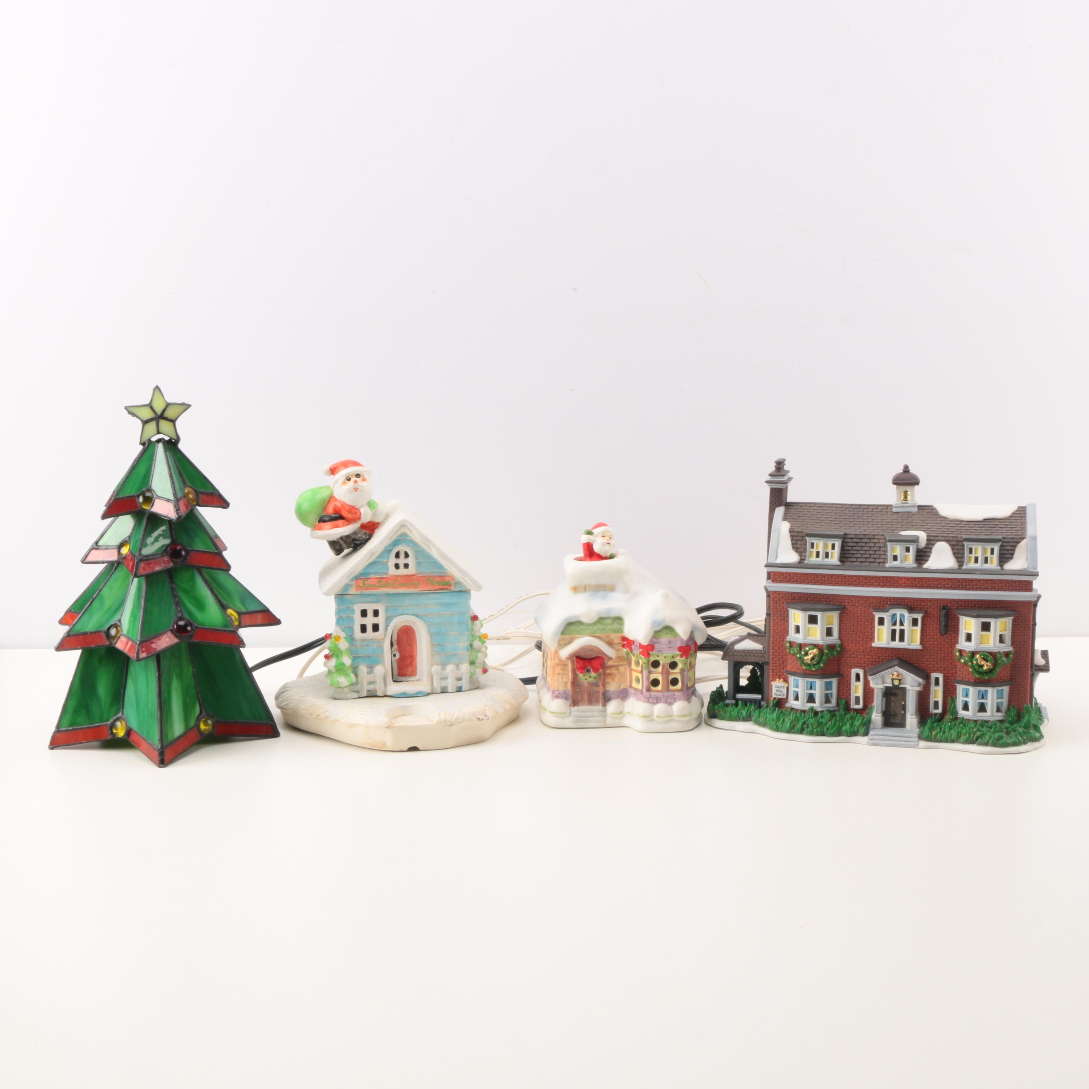 Holiday Decorations Including Christmas Village Pieces