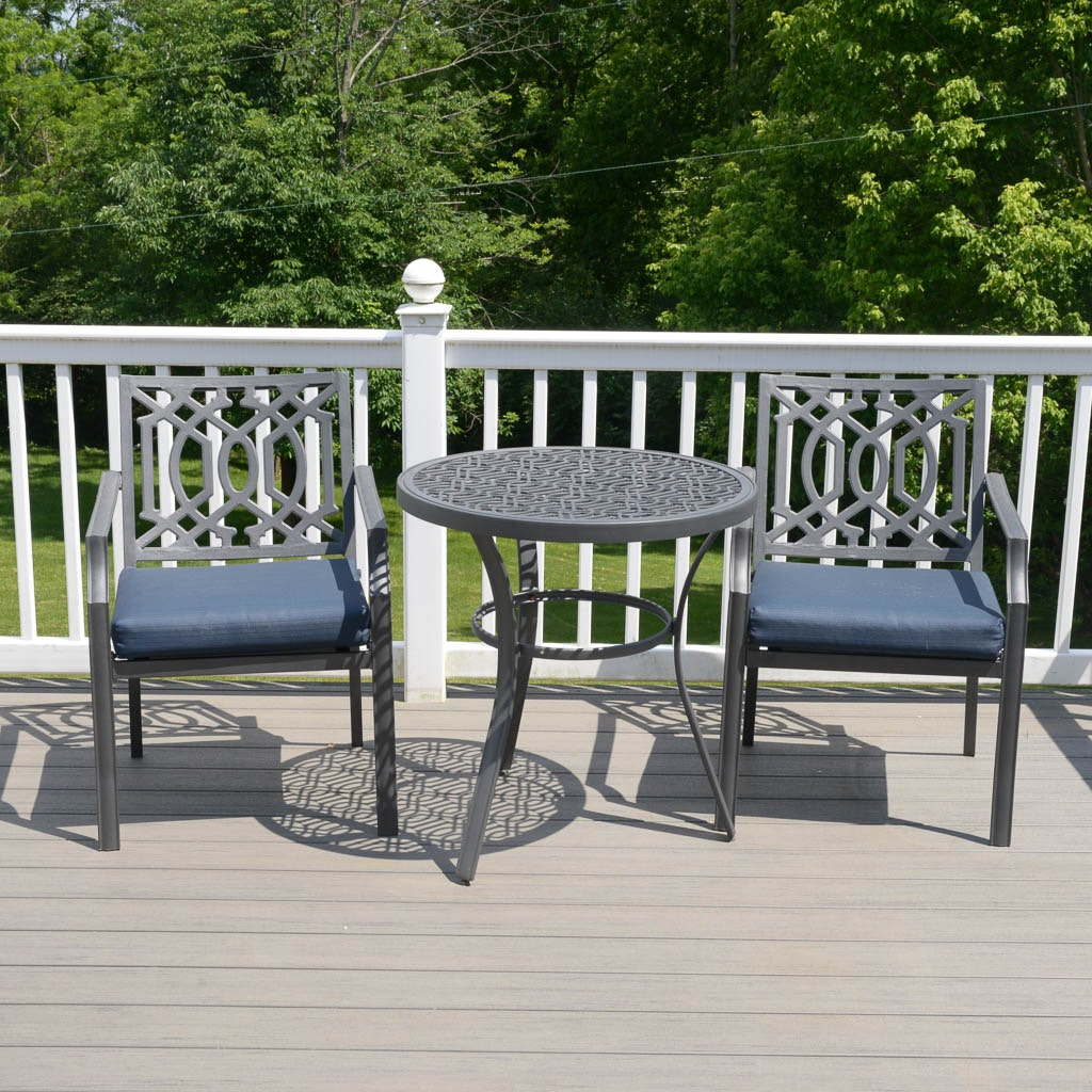 Black Textured Metal Patio Table and Armchairs