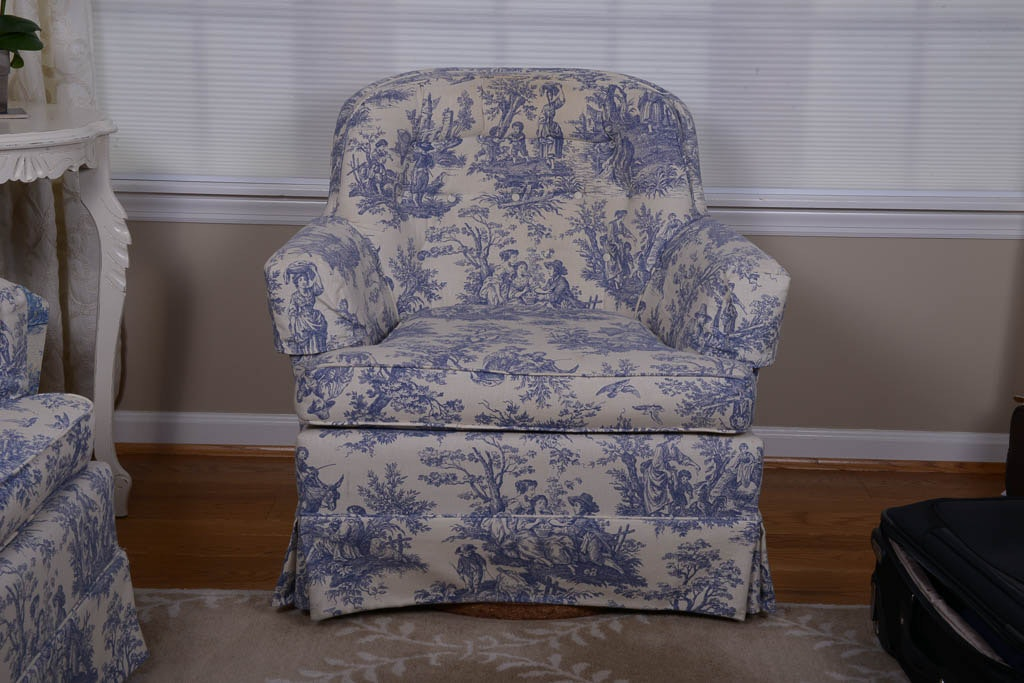 Blue and White Upholstered Rocking Armchair