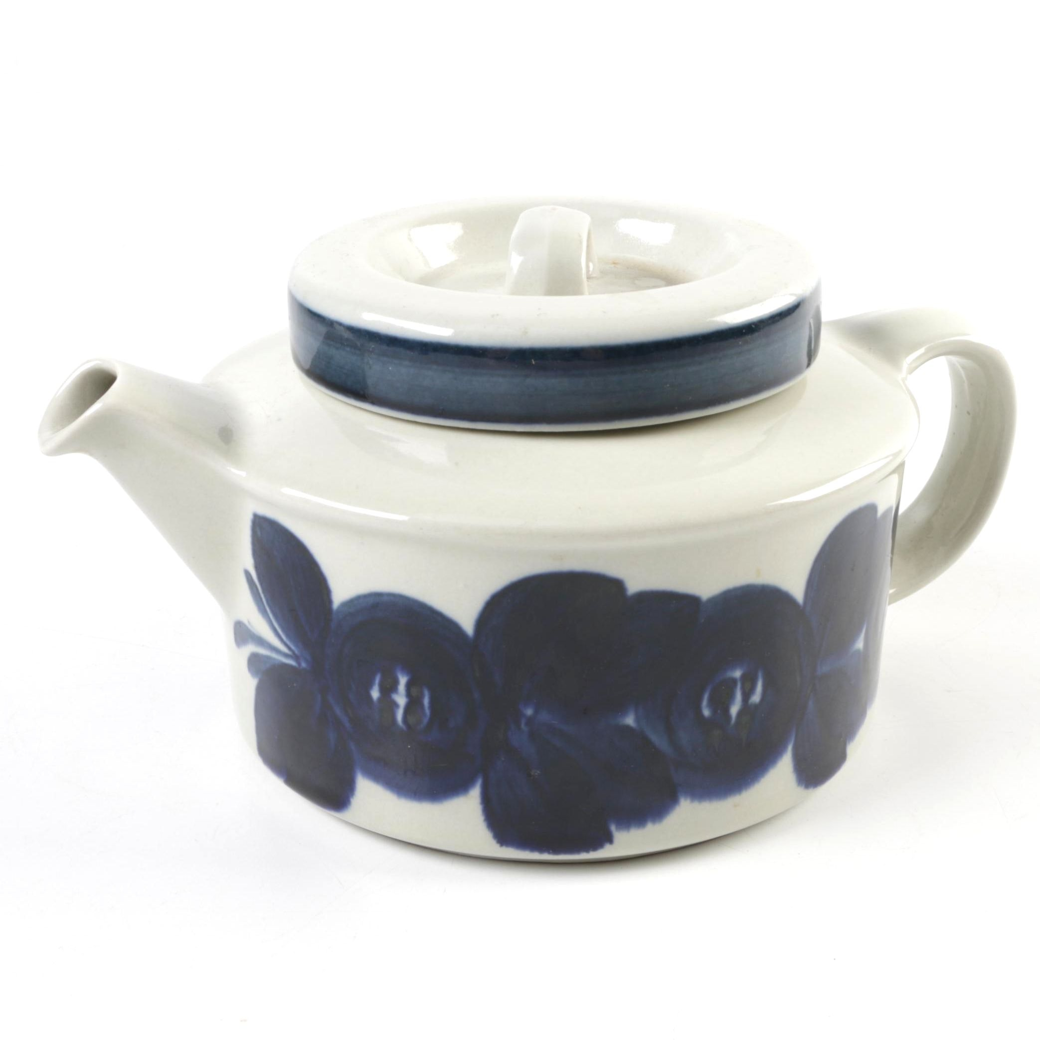 Arabia Finland Blue and Cream Ceramic Teapot
