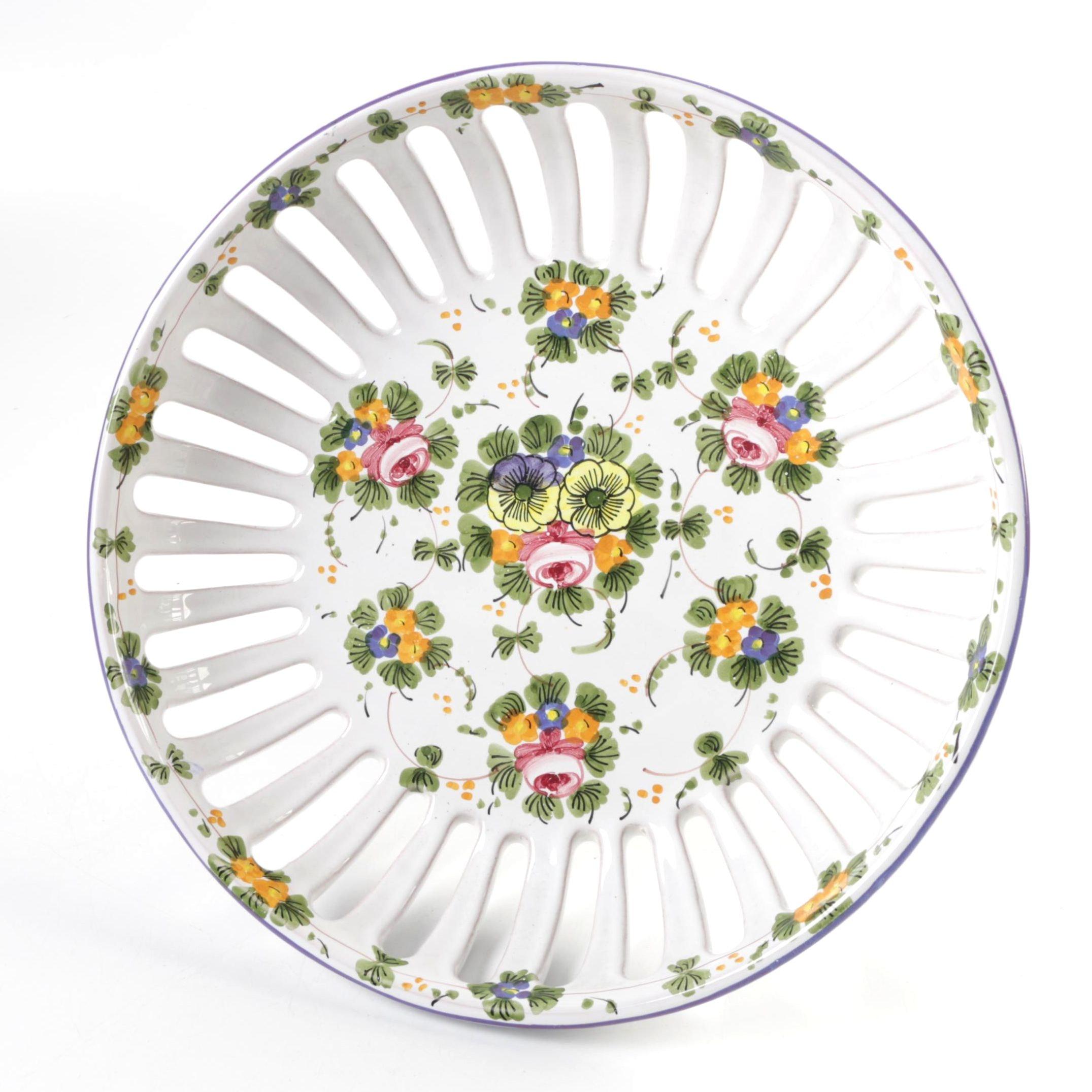 Italian Castelli Ceramic Pedestal Bowl