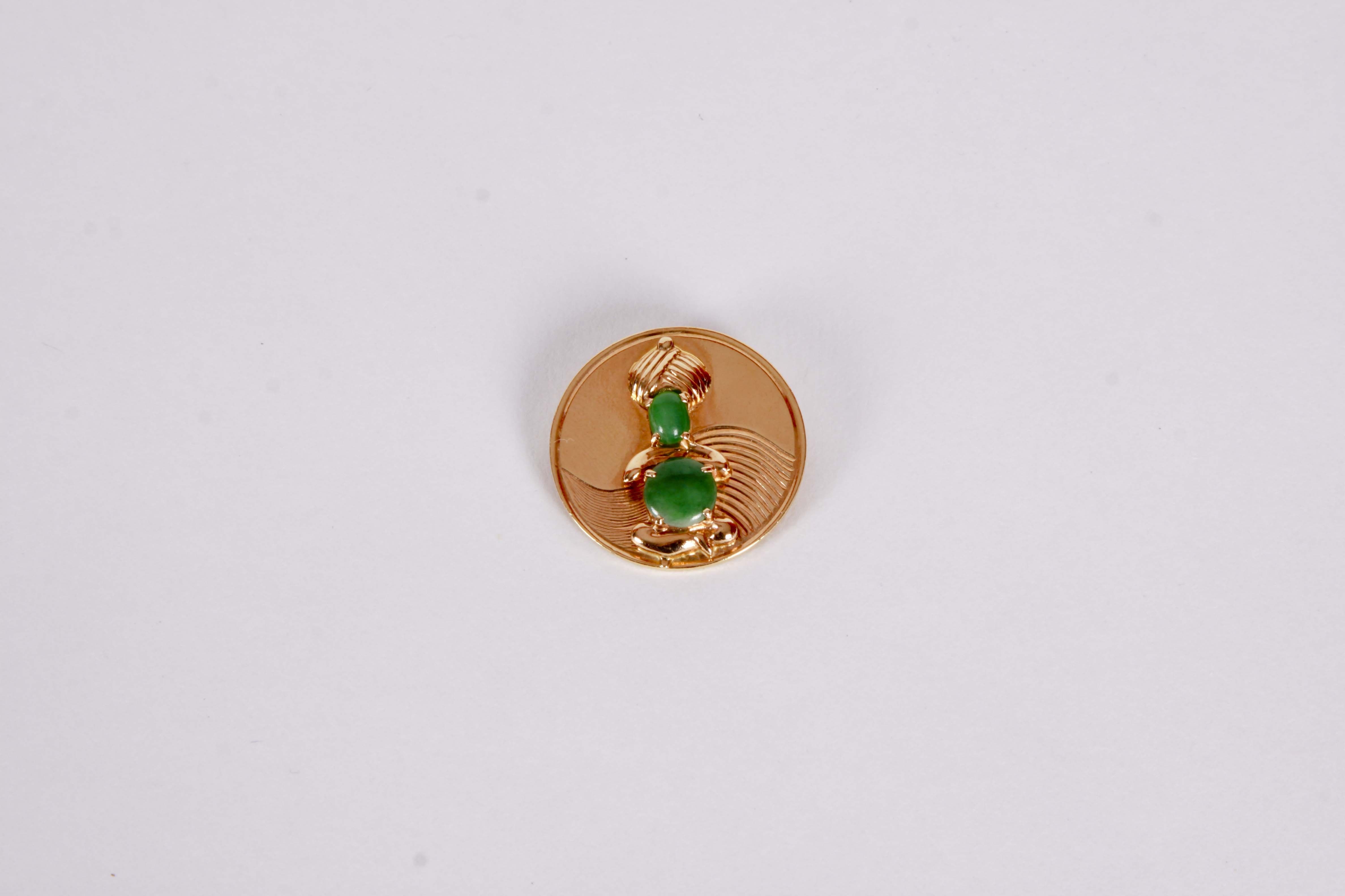 14k Yellow Gold and Jadeite  Brooch