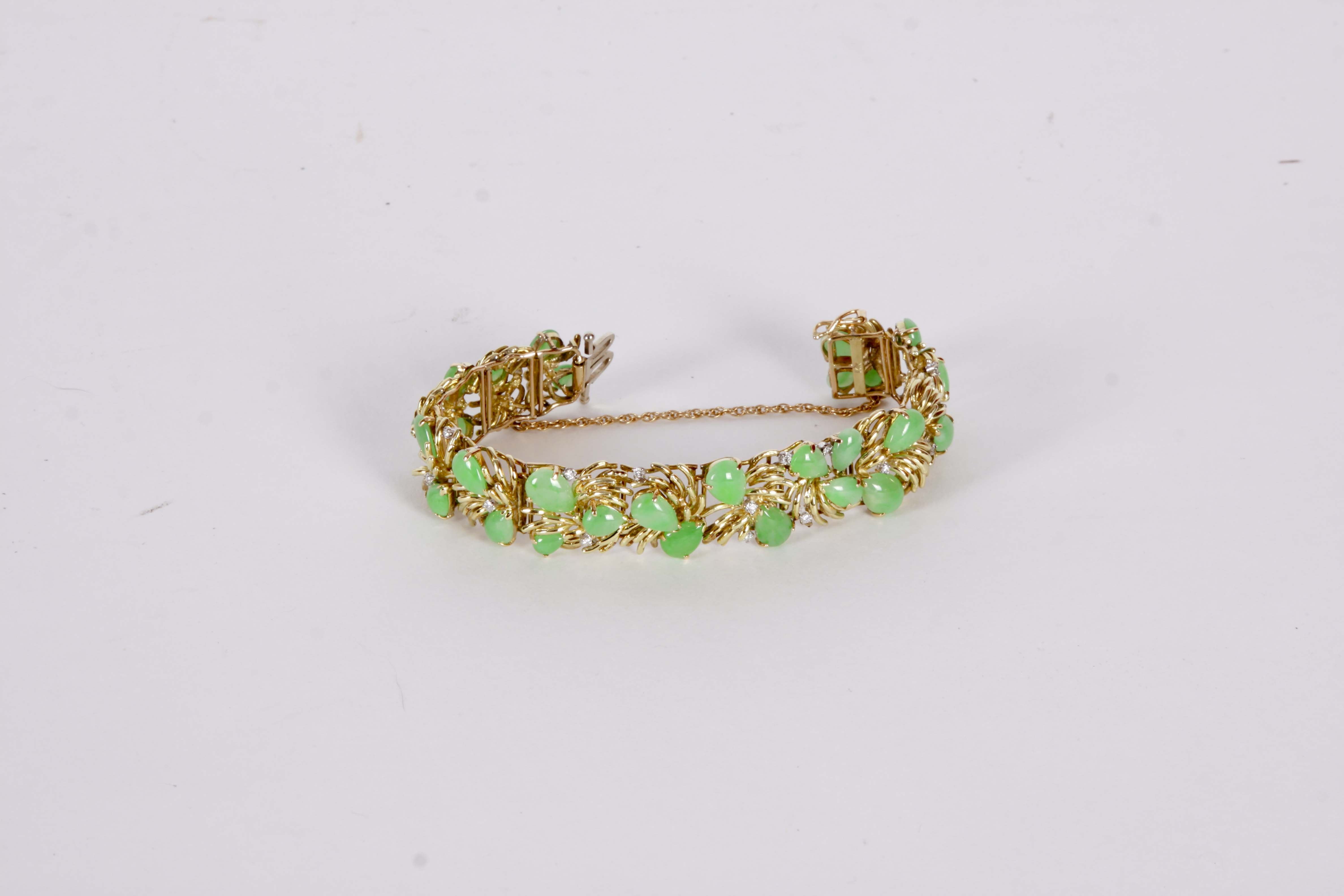 A Vintage Jade and Diamond  Bracelet