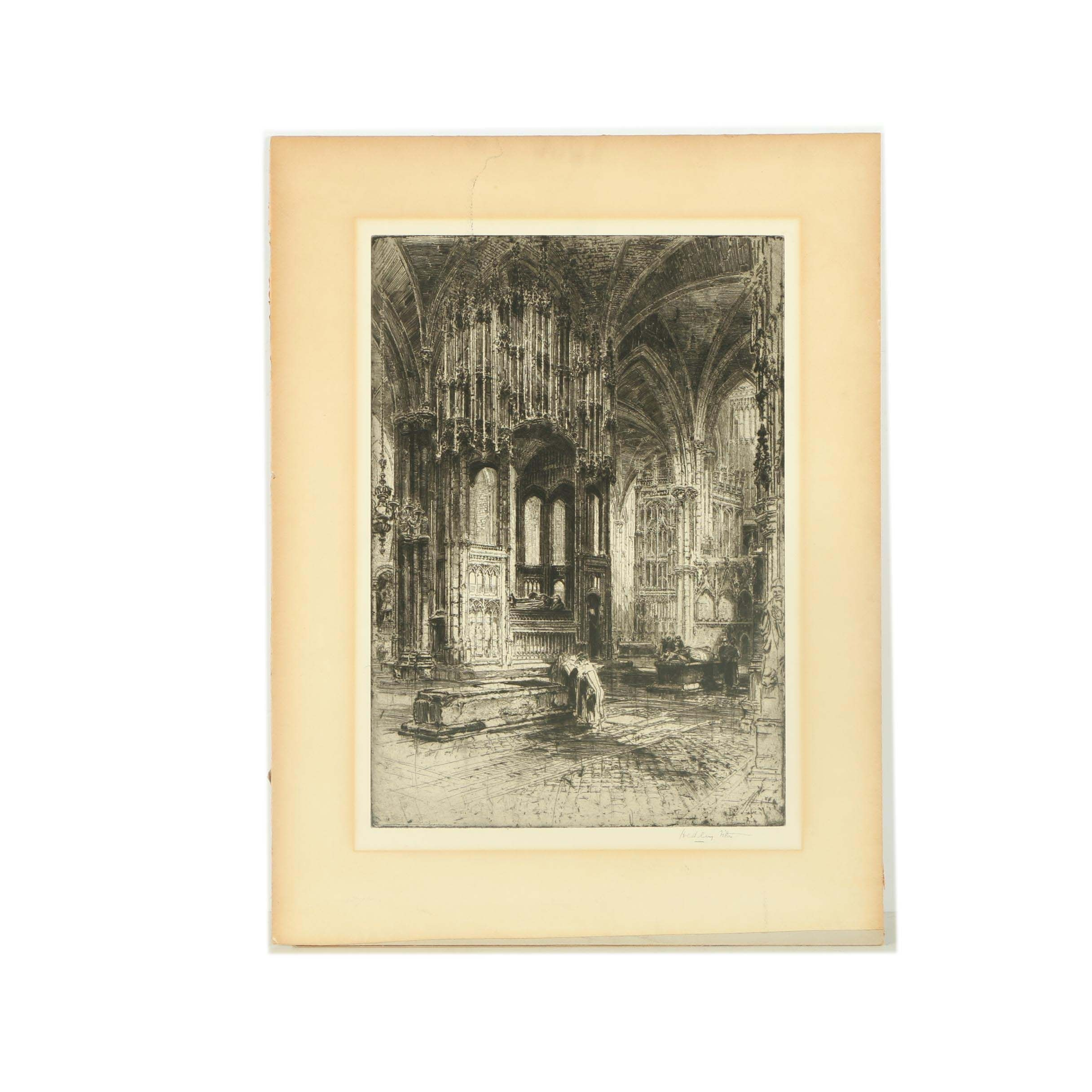 "Hedley Fitton Etching ""The Chantry of Cardinal Beaufort"""