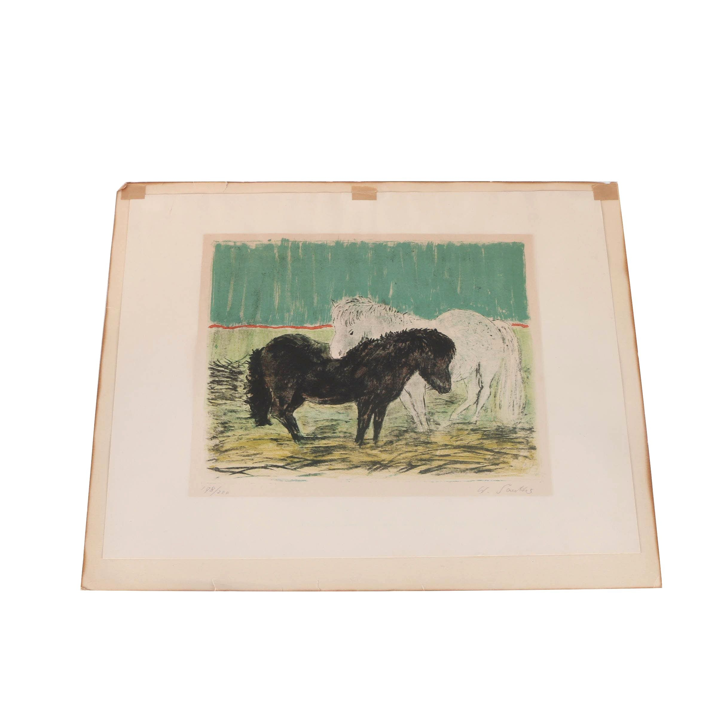 Limited Edition Color Lithograph of Ponies