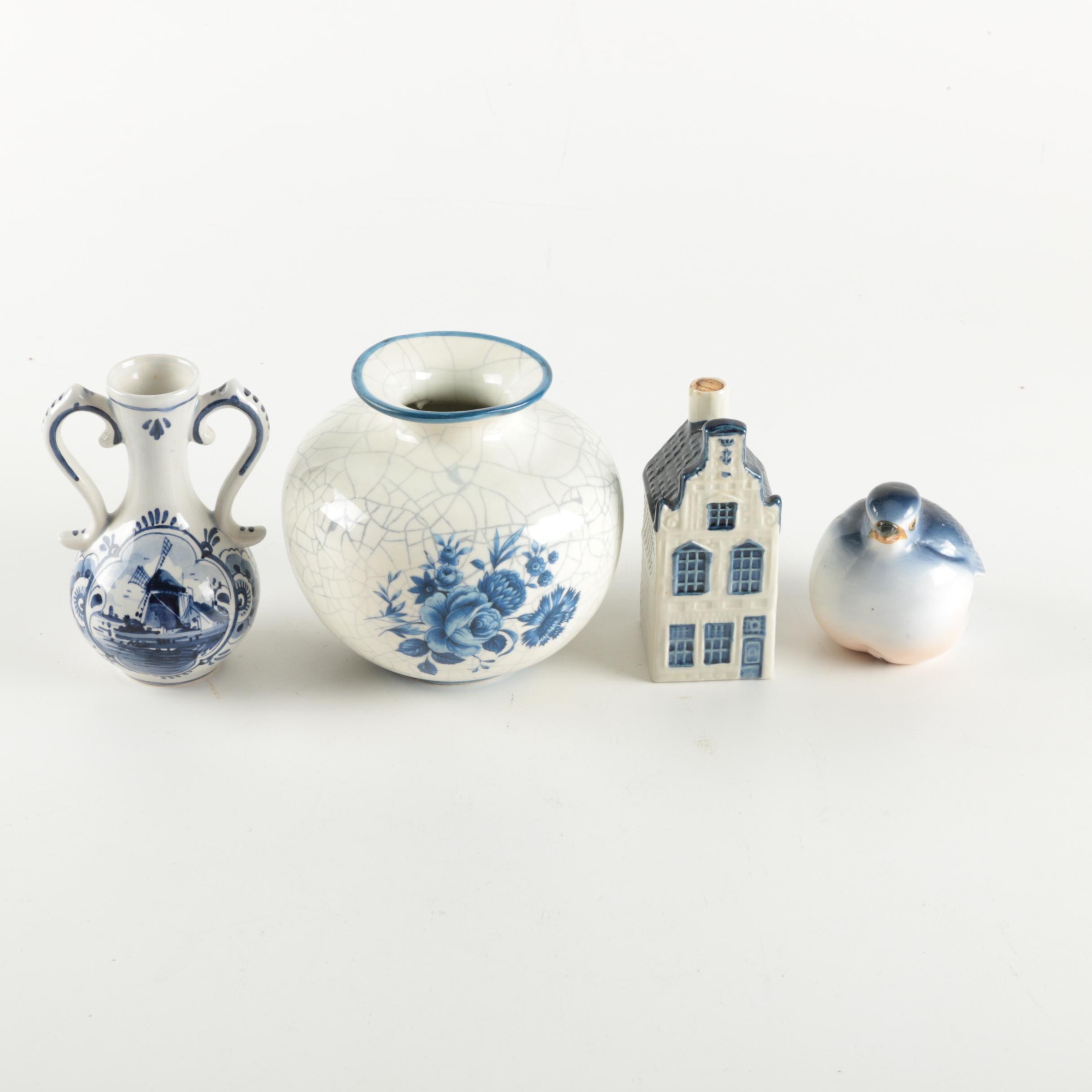Blue and White Ceramic Decor Featuring Delft