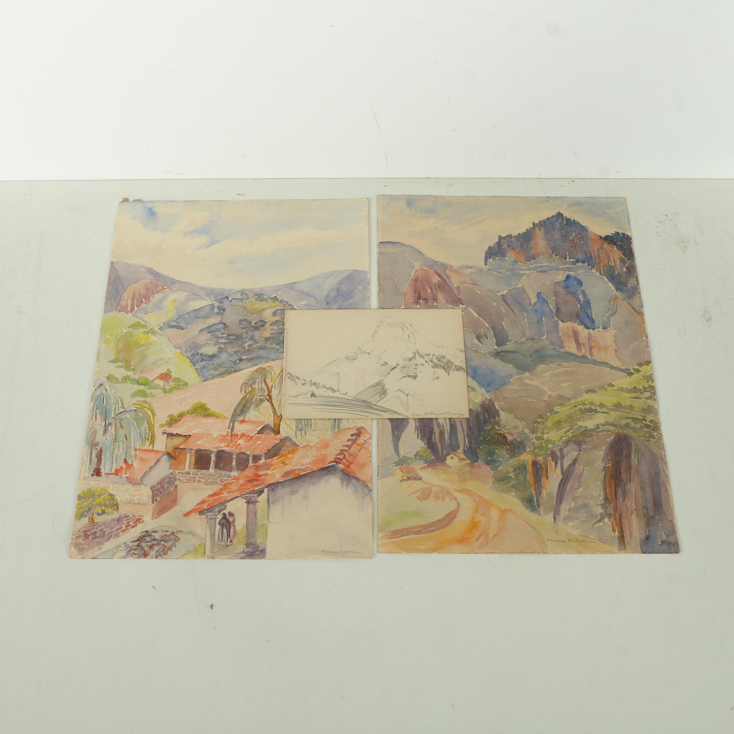 Assortment of Minnie Mikell Landscape Art on Paper