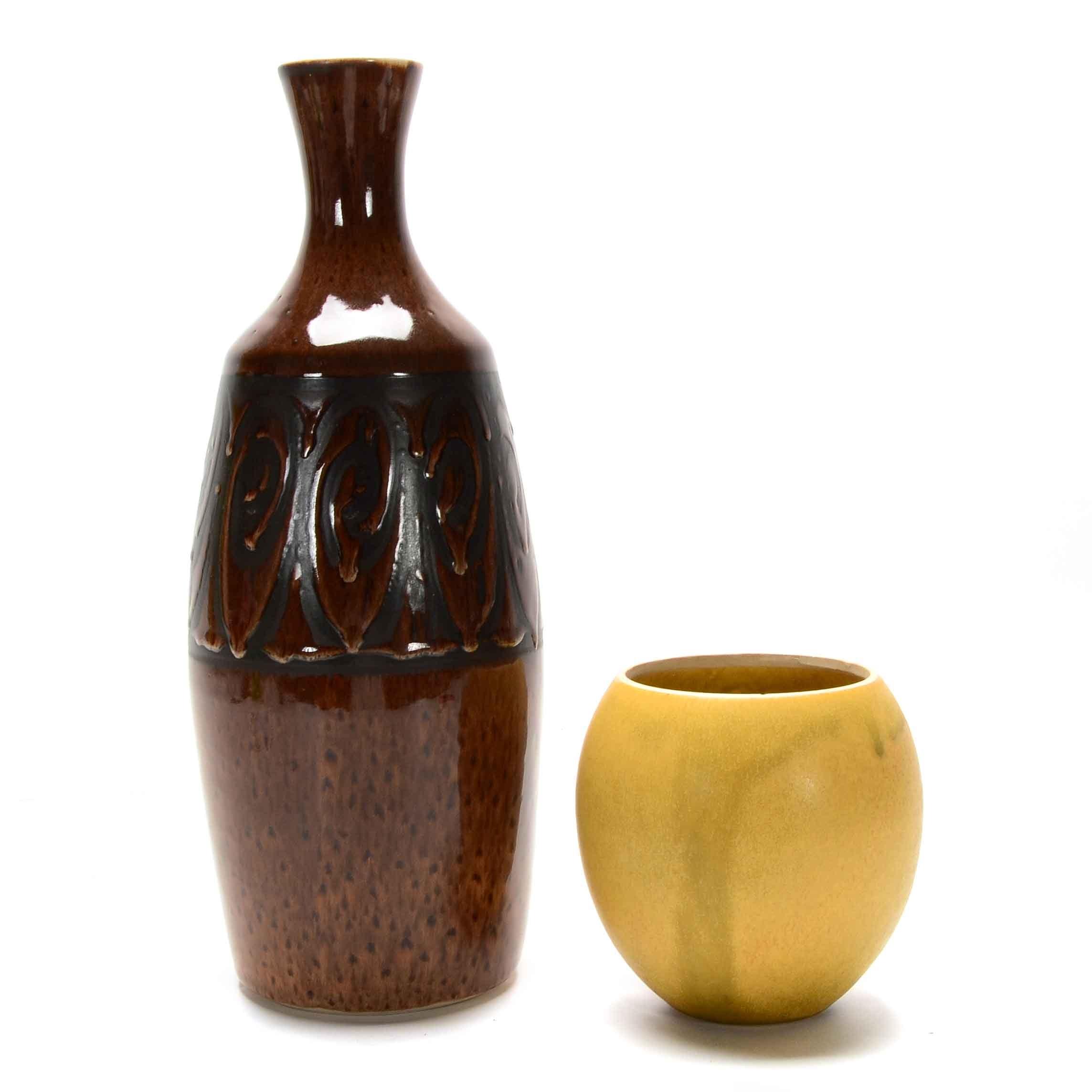 Mid Century Stoneware Pottery Vases