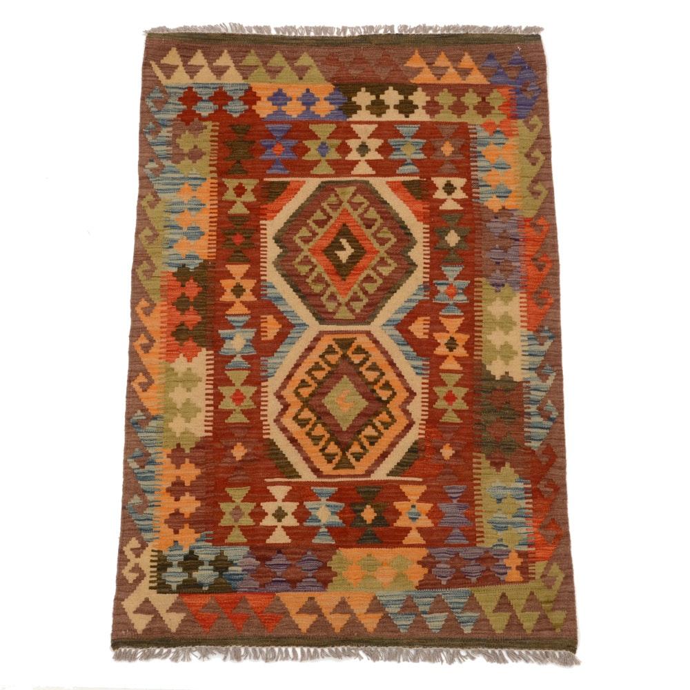 Turkish Flatweave Kilim Wool Area Rug