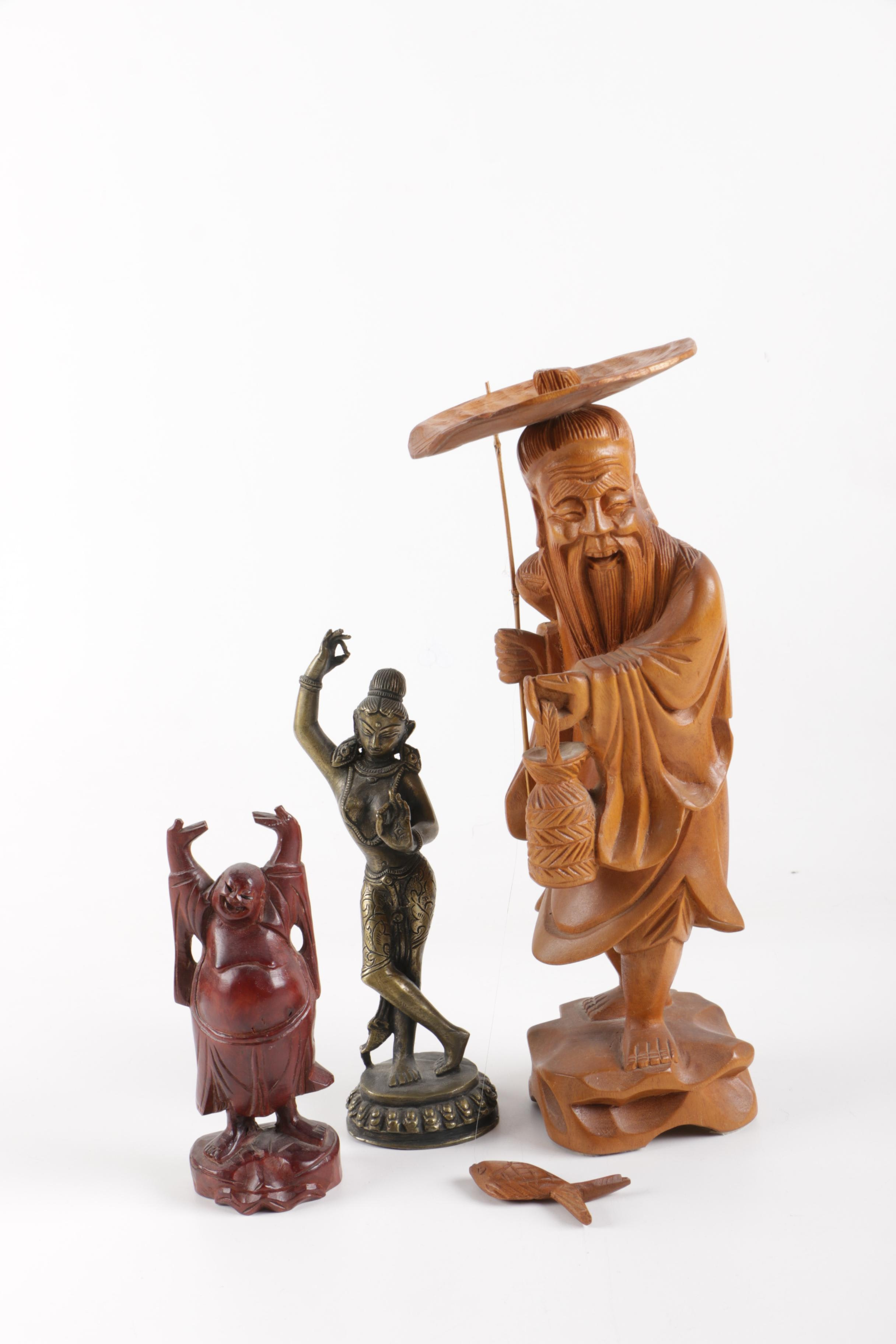 Collection of Wooden and Brass South Asian Figurines
