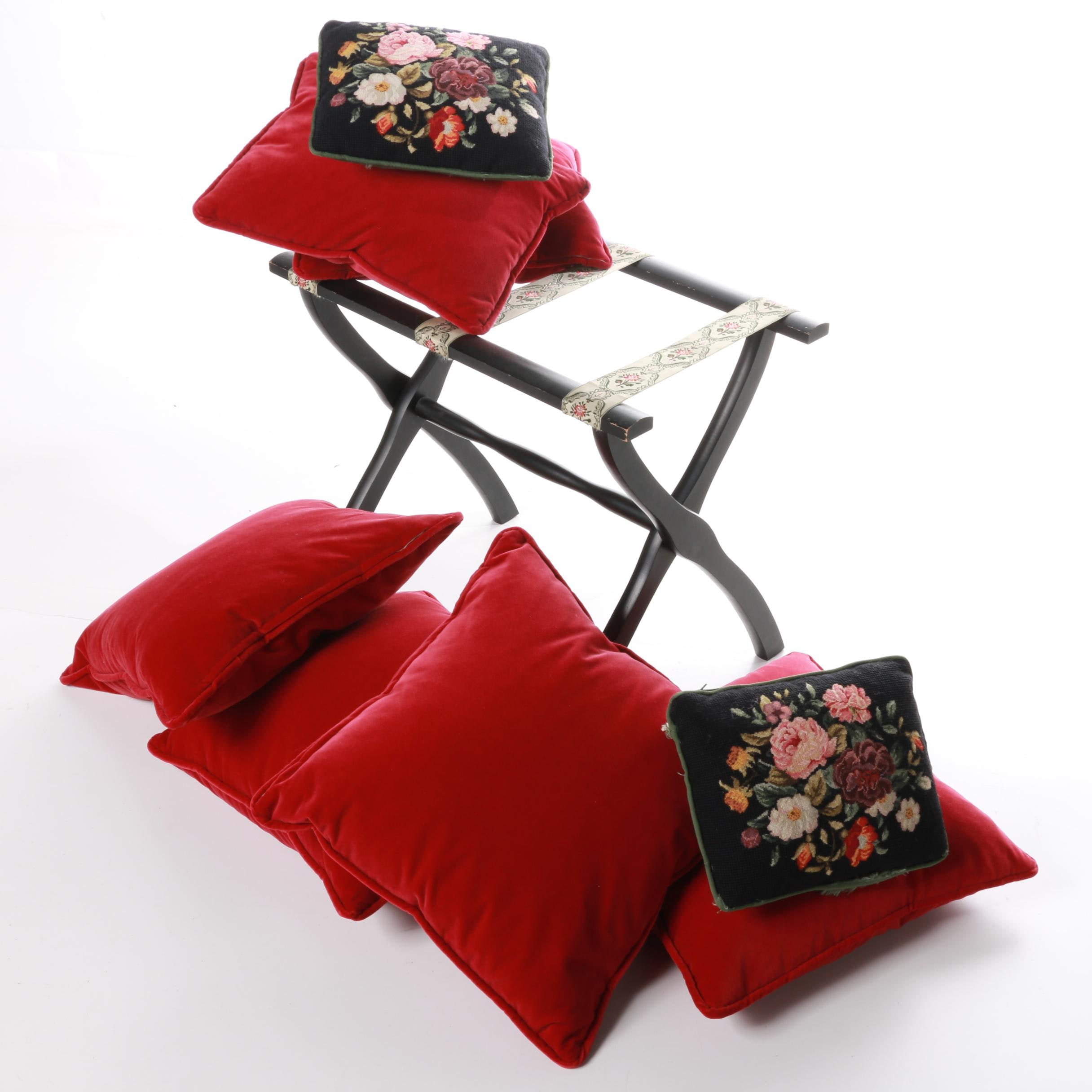 Collection of Accent Pillows and Luggage Rack