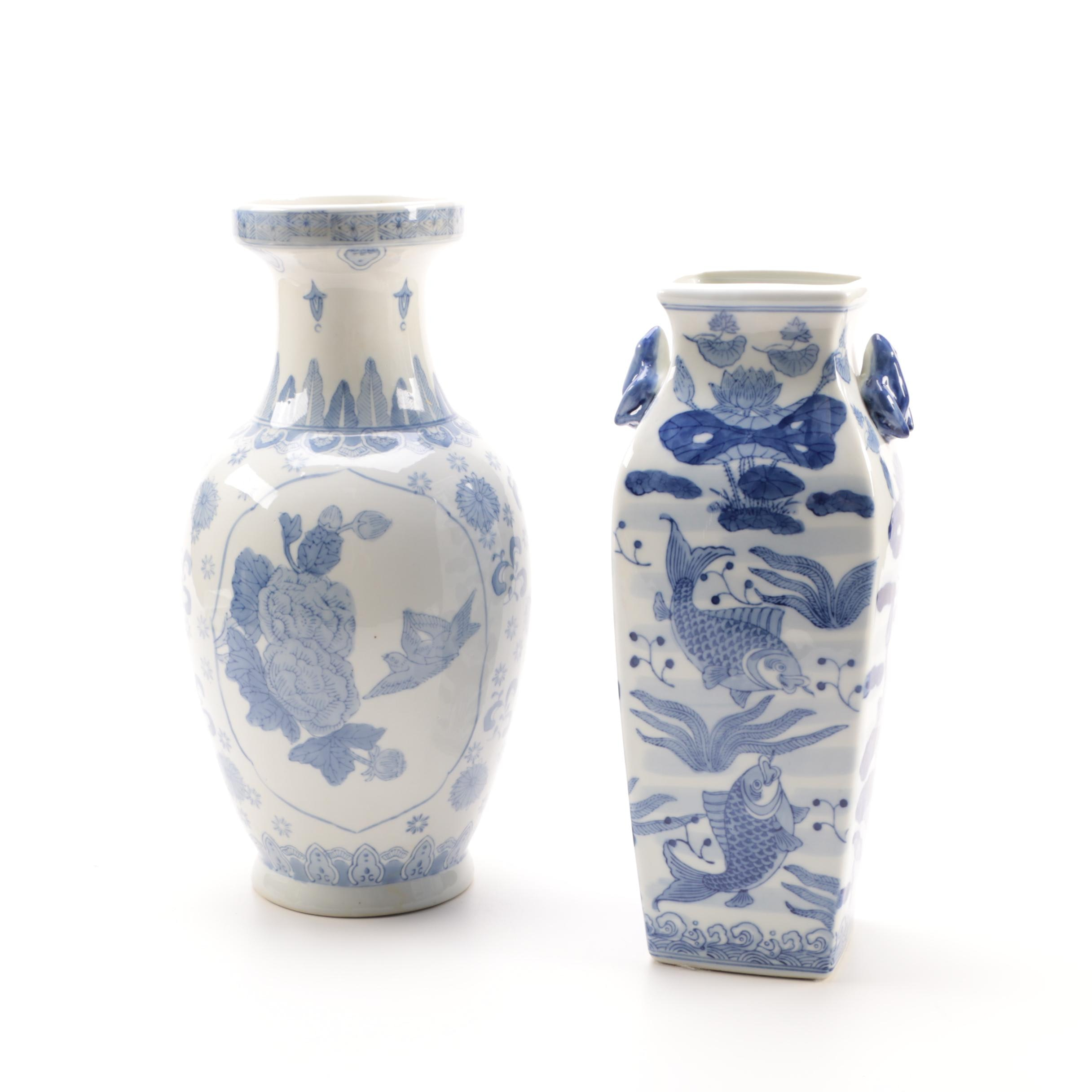 Decorative Chinese Blue and White Porcelain Vases
