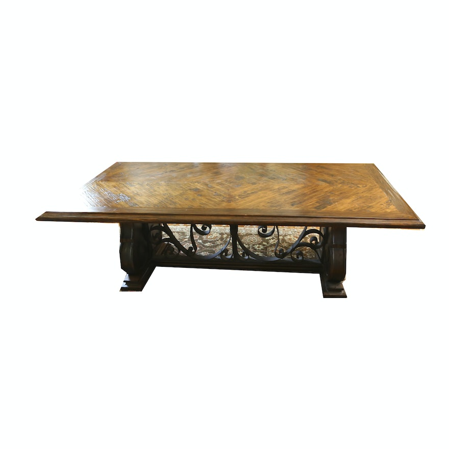 Coffee Table With Scrolled Metal Stretcher
