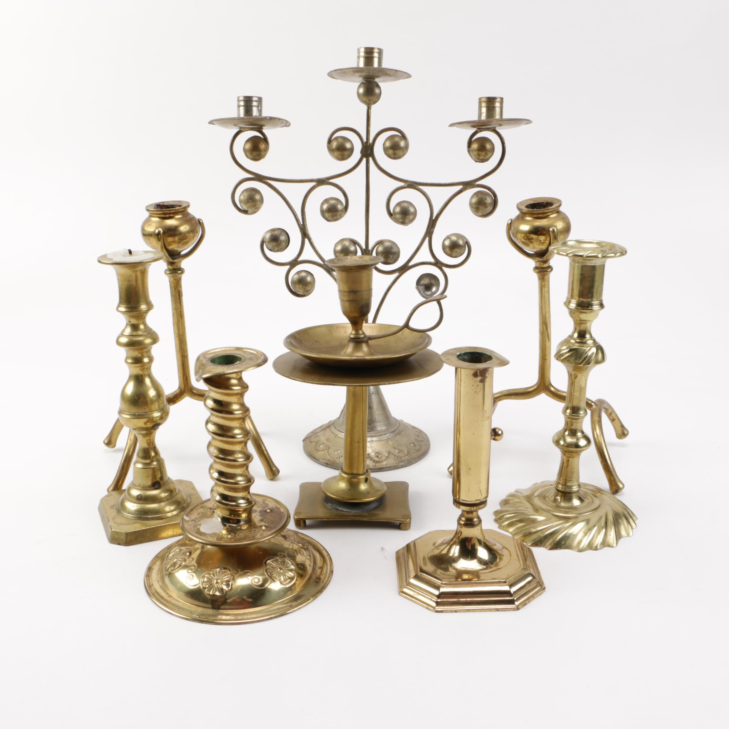 Brass and Candleholders and Metal Candelabrum
