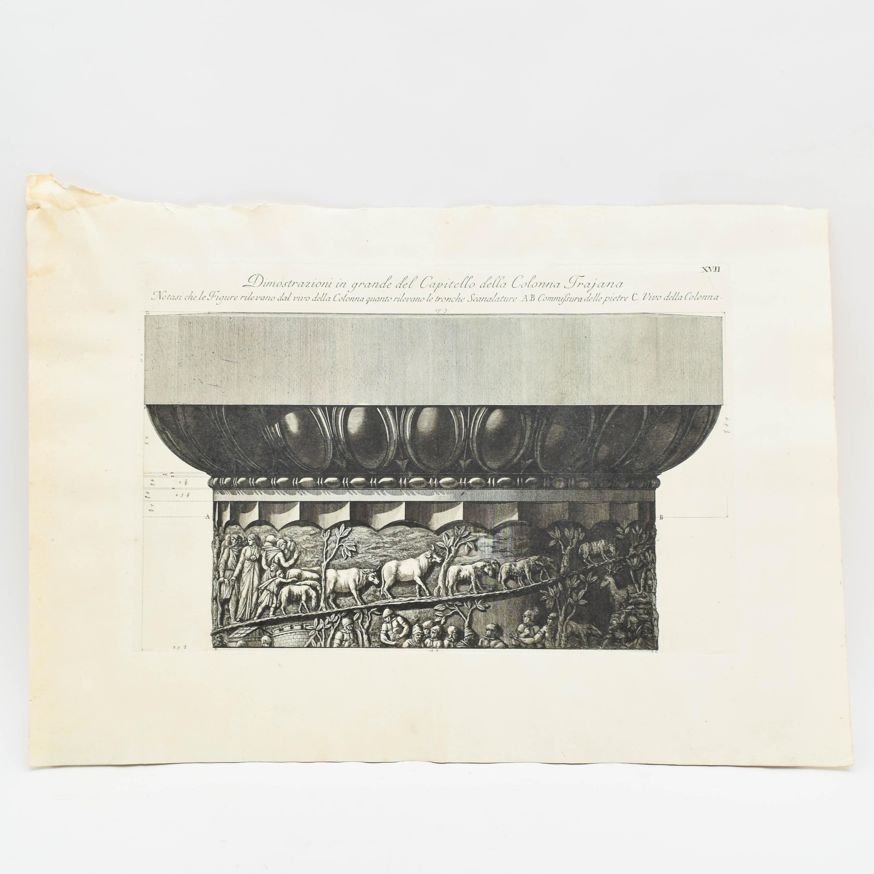Antique Etching After Giovanni Battista Piranesi of Trajan's Column