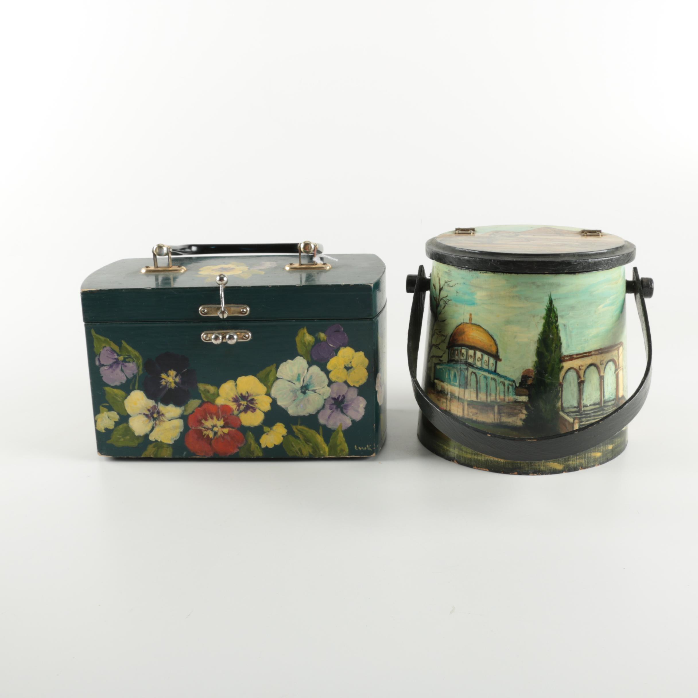 Vintage Hand-Painted Wooden Handbags