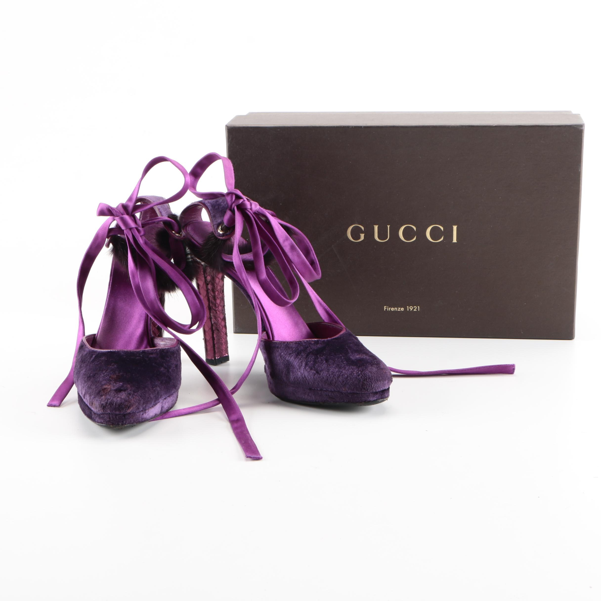 Gucci by Tom Ford Purple Velvet Pumps with Mink Fur