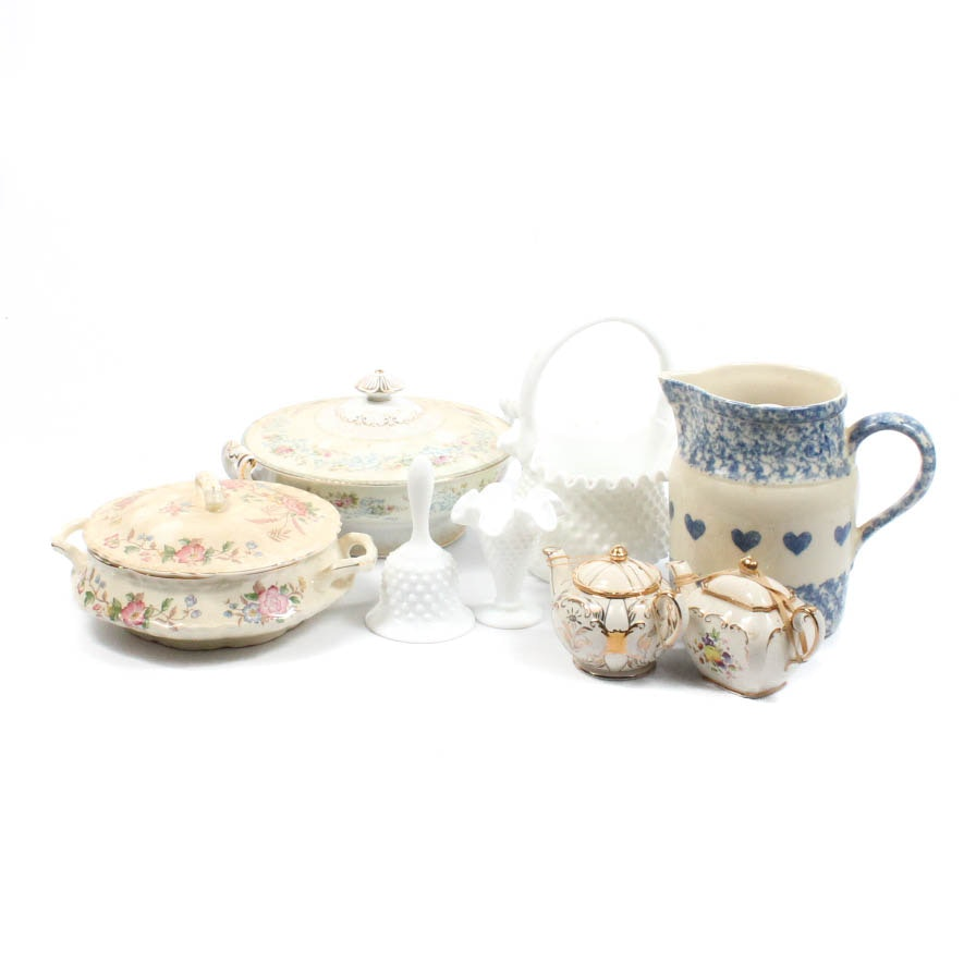 Vintage Glassware and Pottery Featuring Friendship Pottery