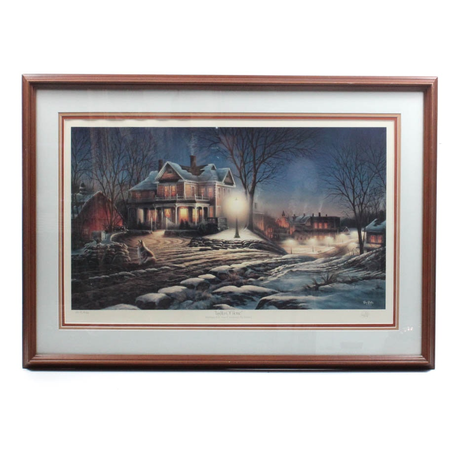 """Terry Redlin Signed Offset Lithograph """"Lights of Home"""""""