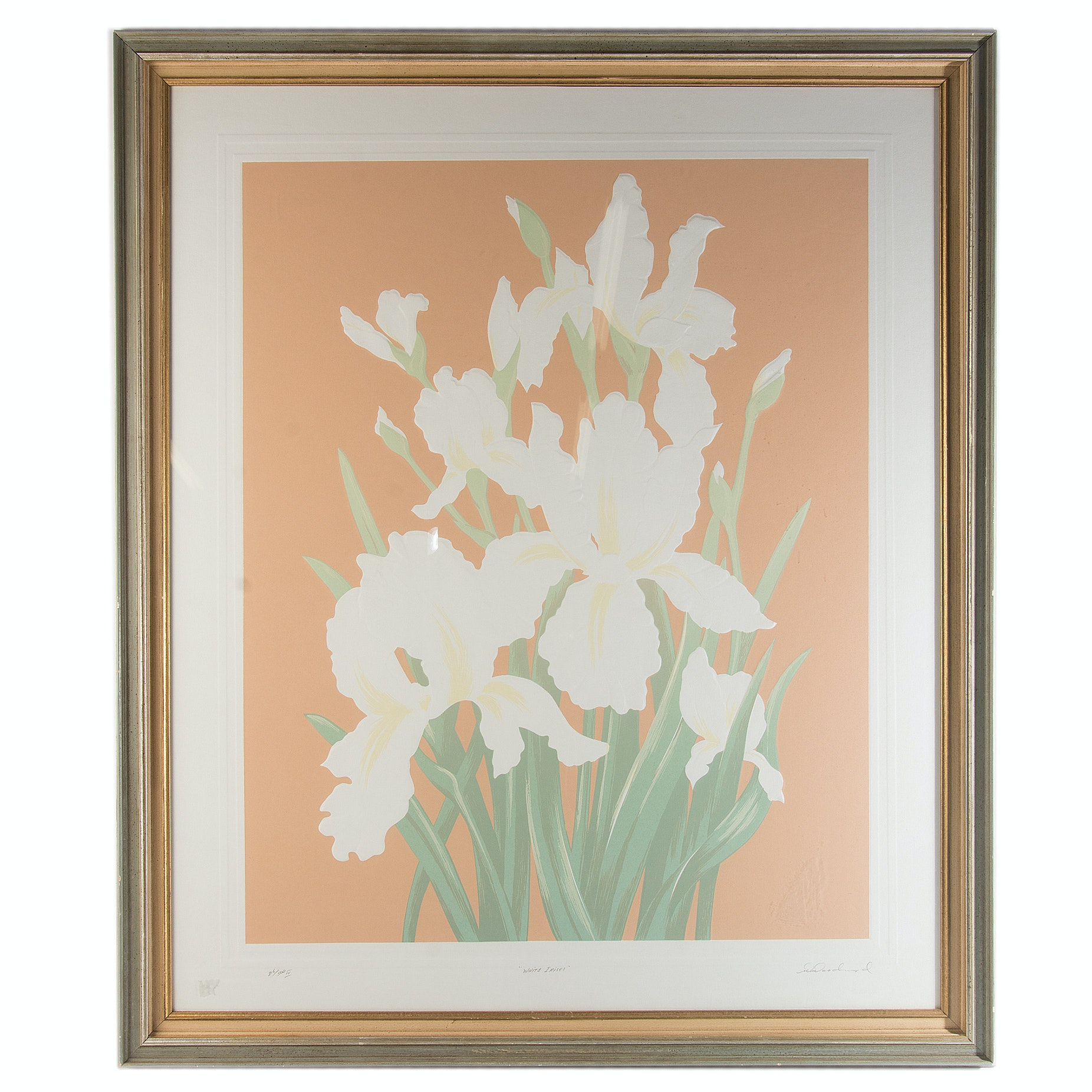 "David Allgood Limited Edition Embossed Serigraph ""White Irises"""