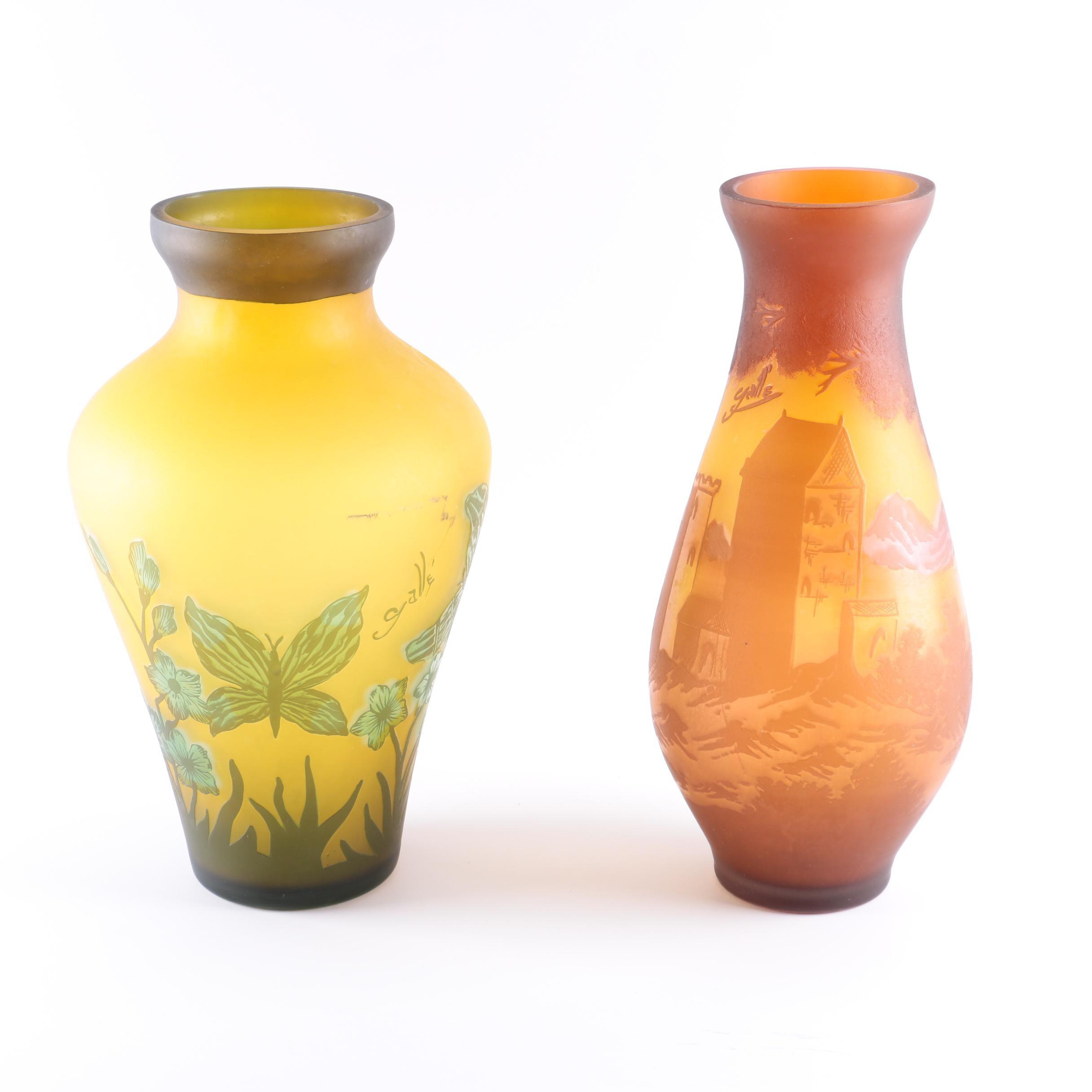 Reproduction Émile Gallé Art Nouveau Style Glass Vases