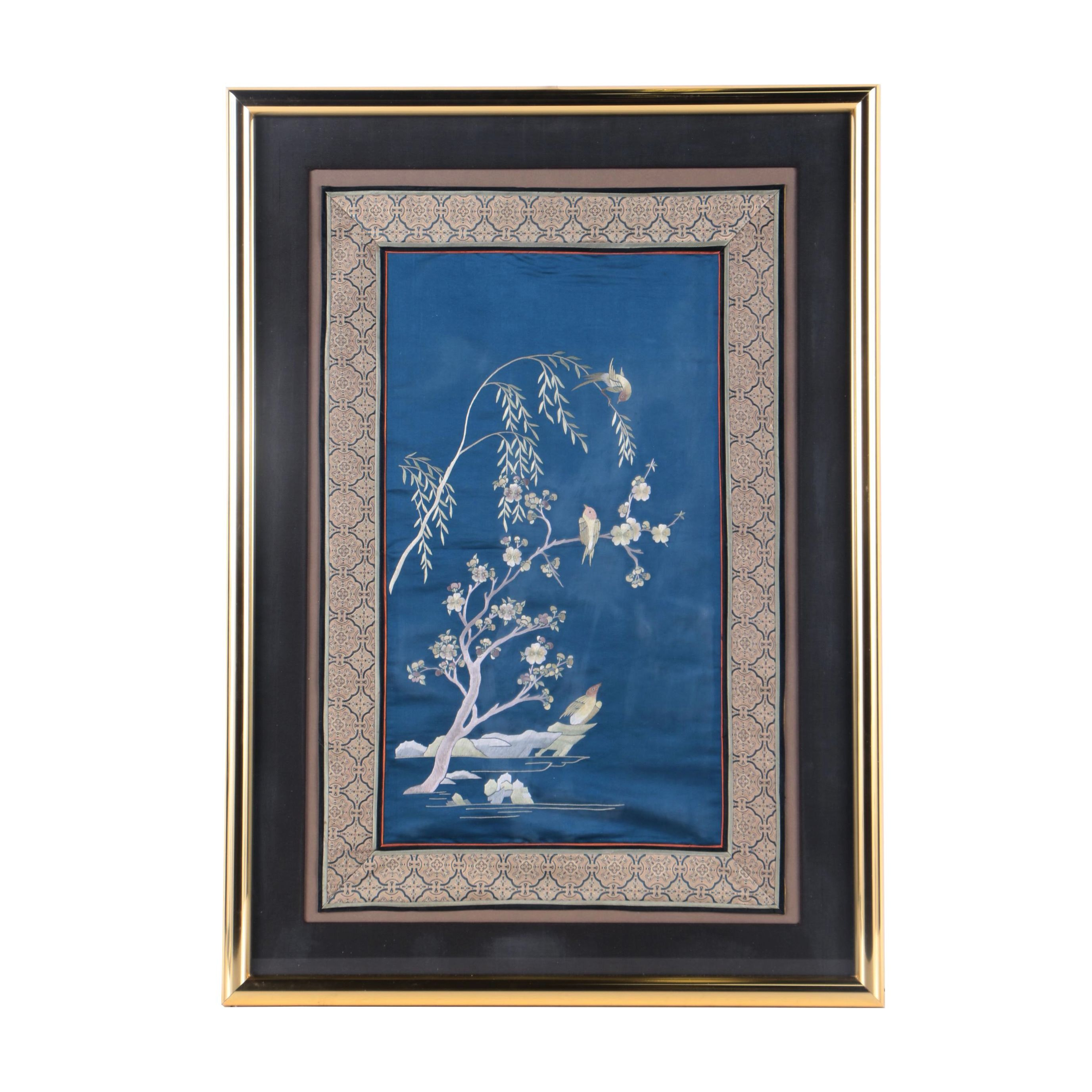 East Asian Style Embroidery on Silk of Nature Scene