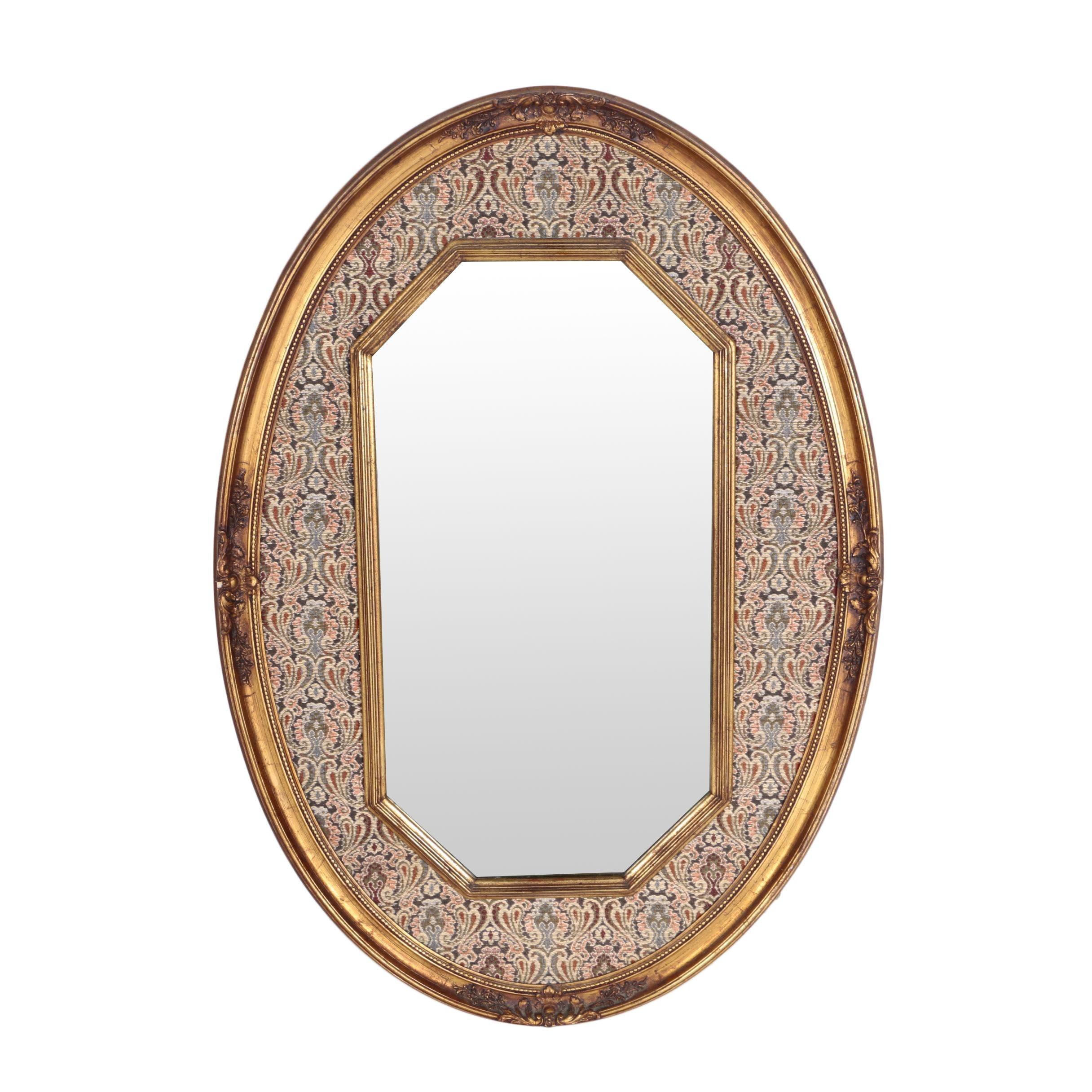 Tapestry-Framed Octagonal Wall Mirror