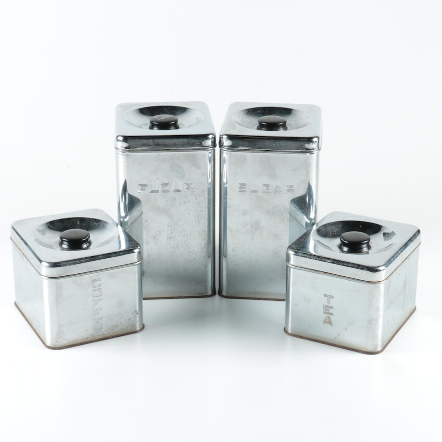"""vintage """"lincoln beautyware"""" metal kitchen canisters 