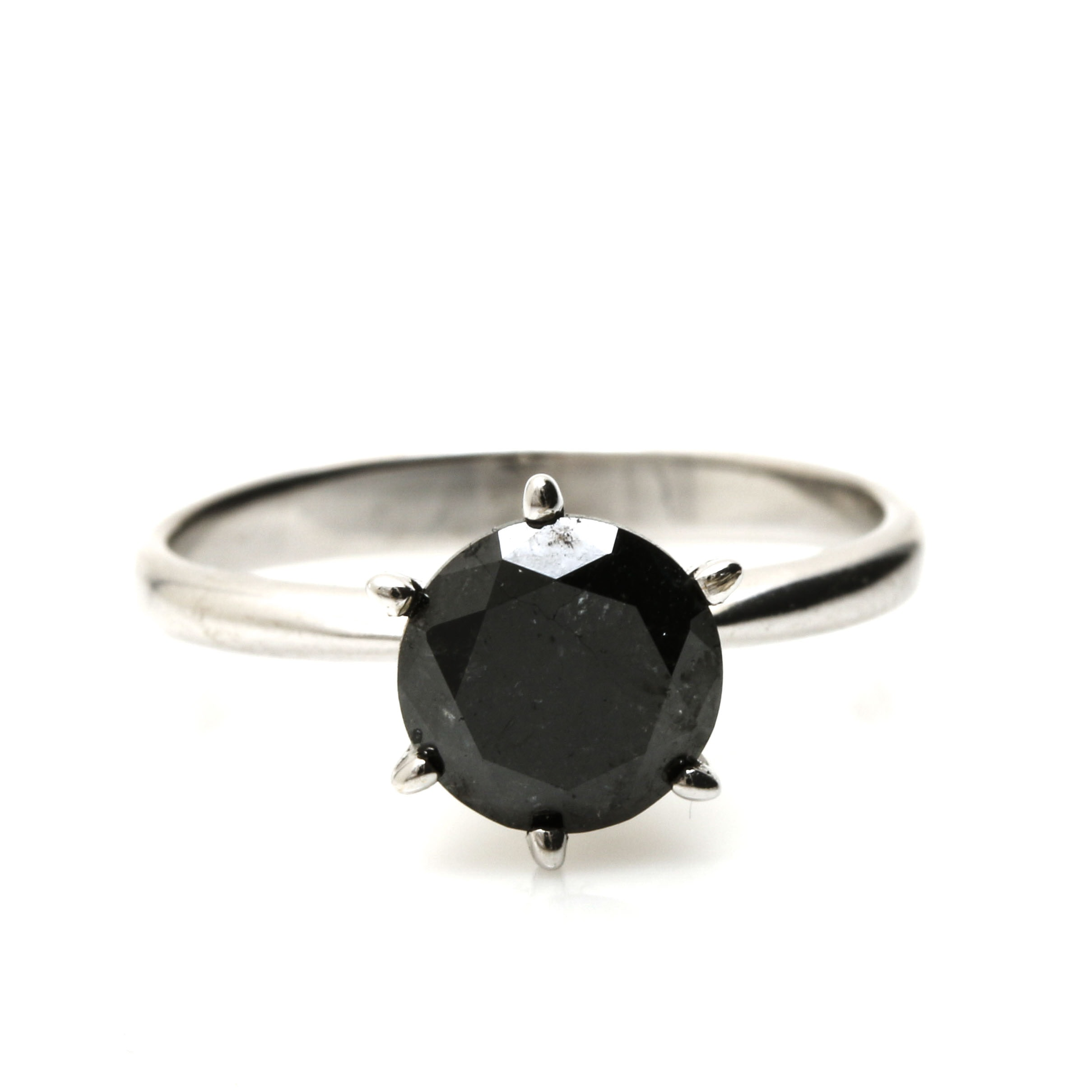 18K White Gold and 1.18 CTW Black Diamond Ring