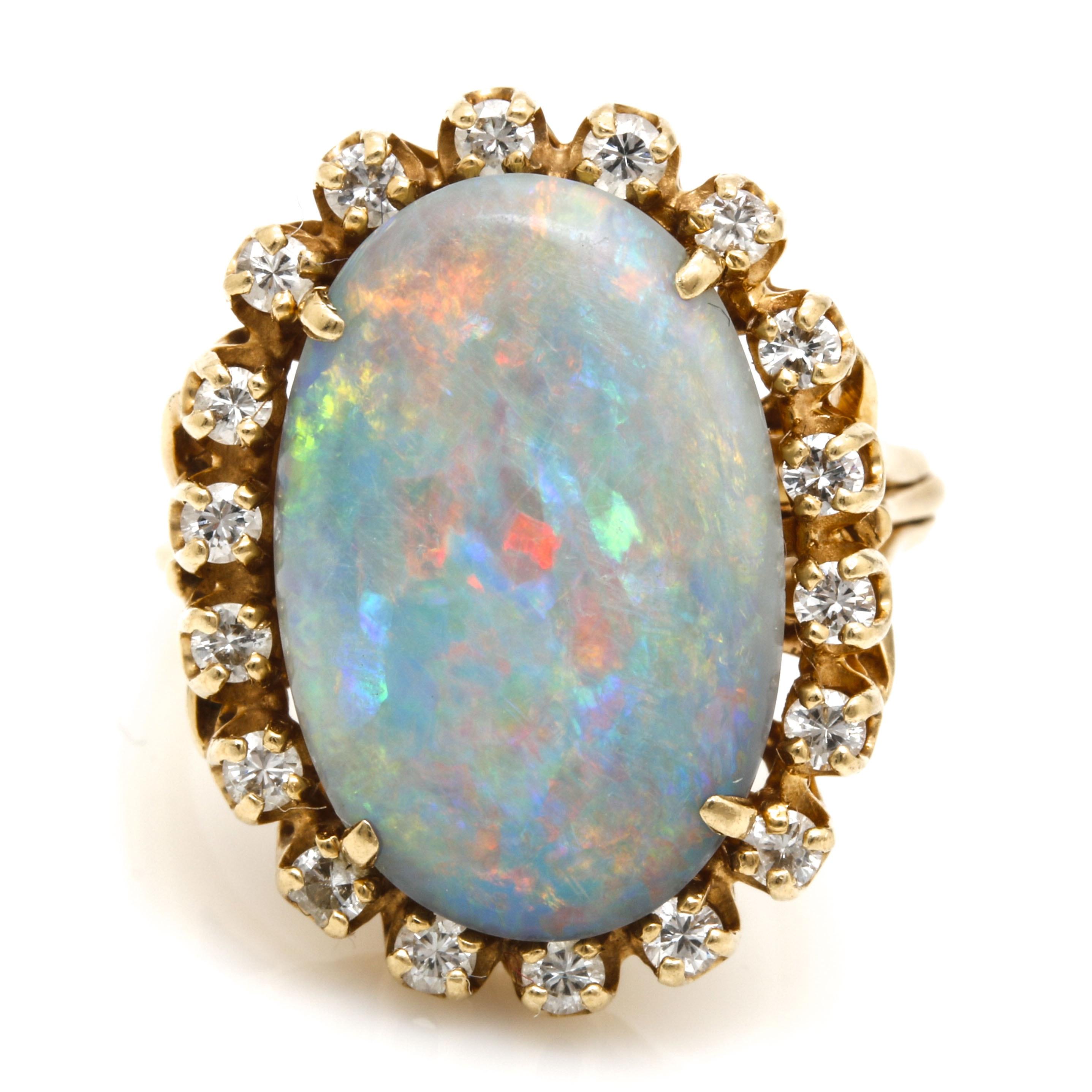 14K Yellow Gold Opal and Diamond Statement Ring