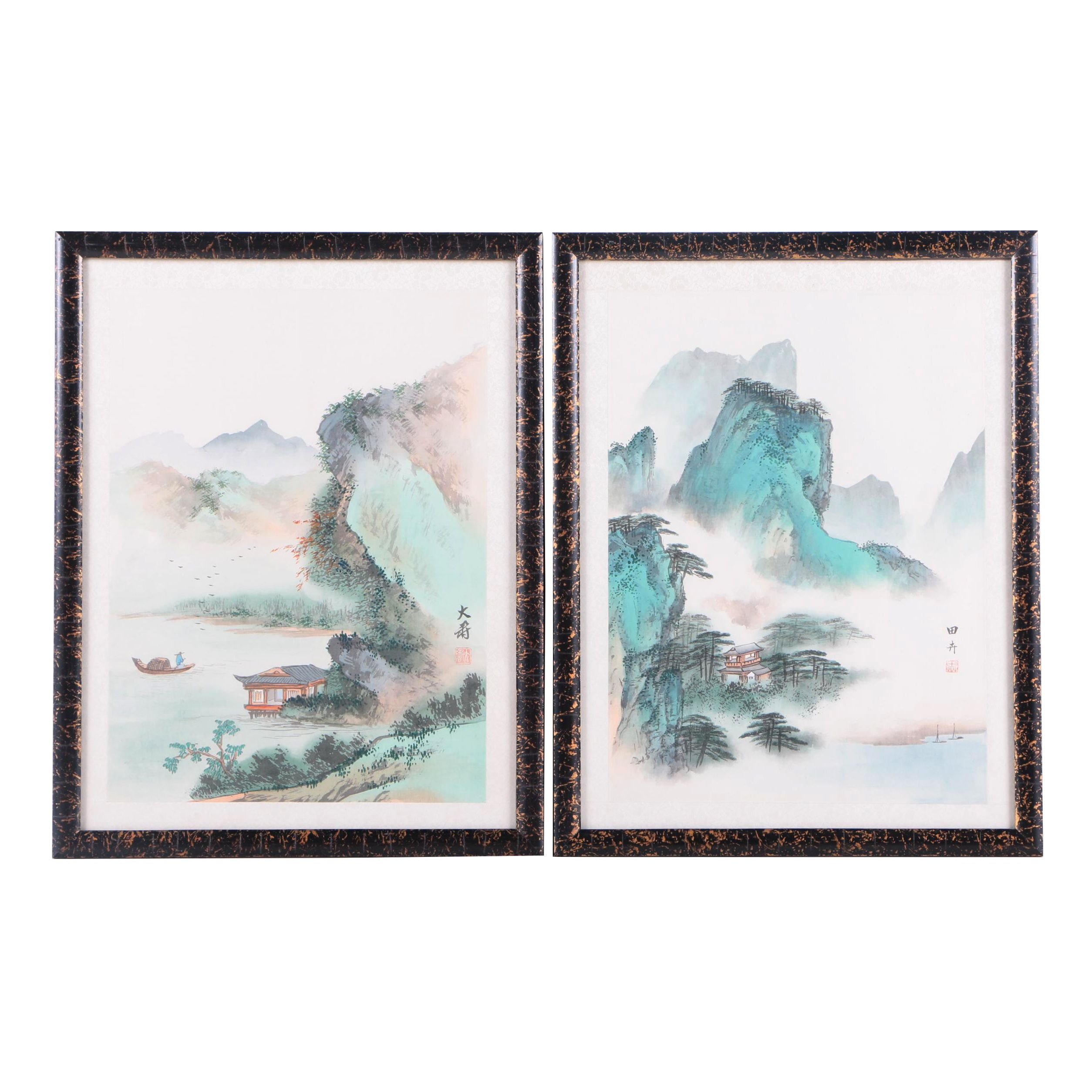 East Asian Style Watercolor Paintings on Silk of Landscapes