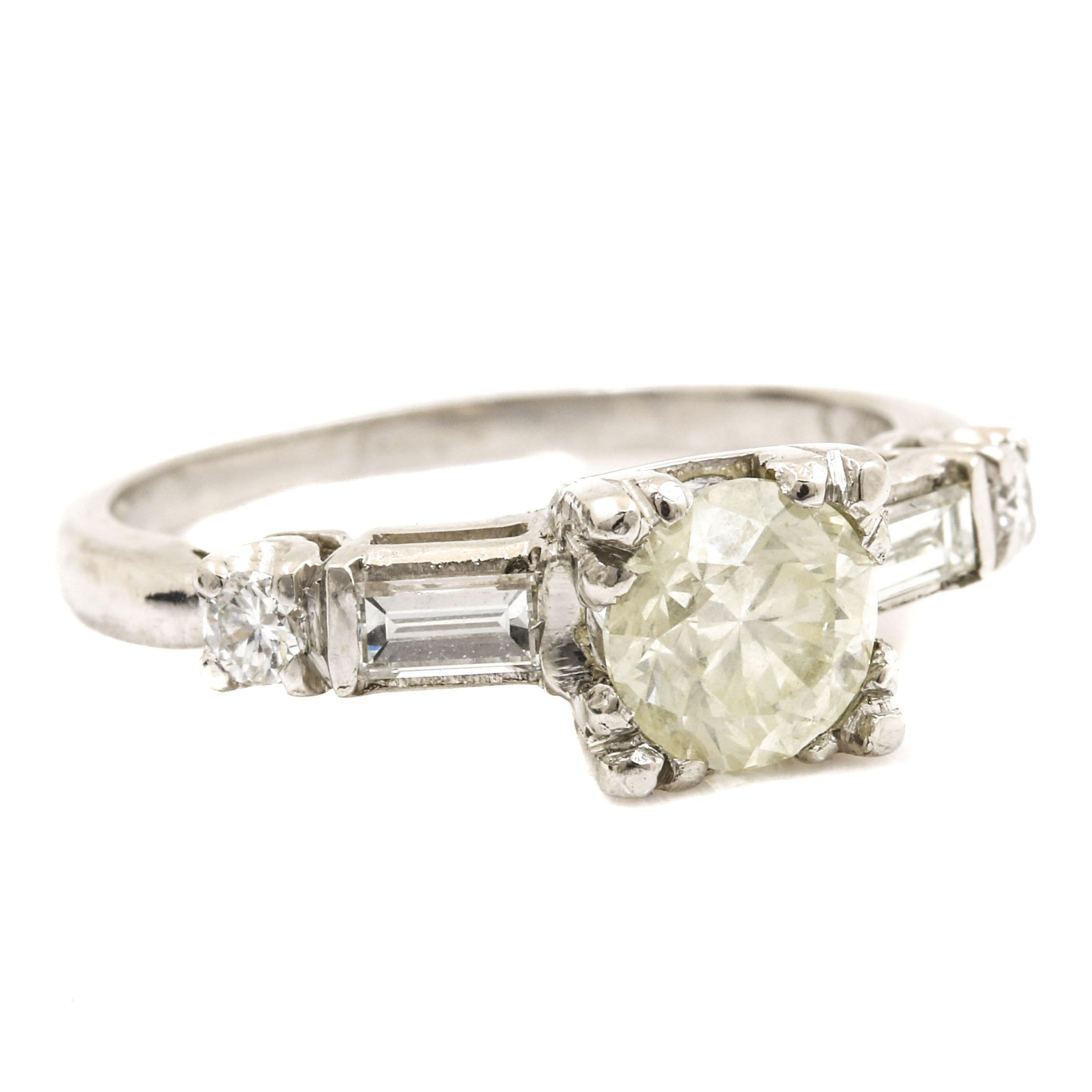 Platinum and 1.10 CTW Diamond Ring